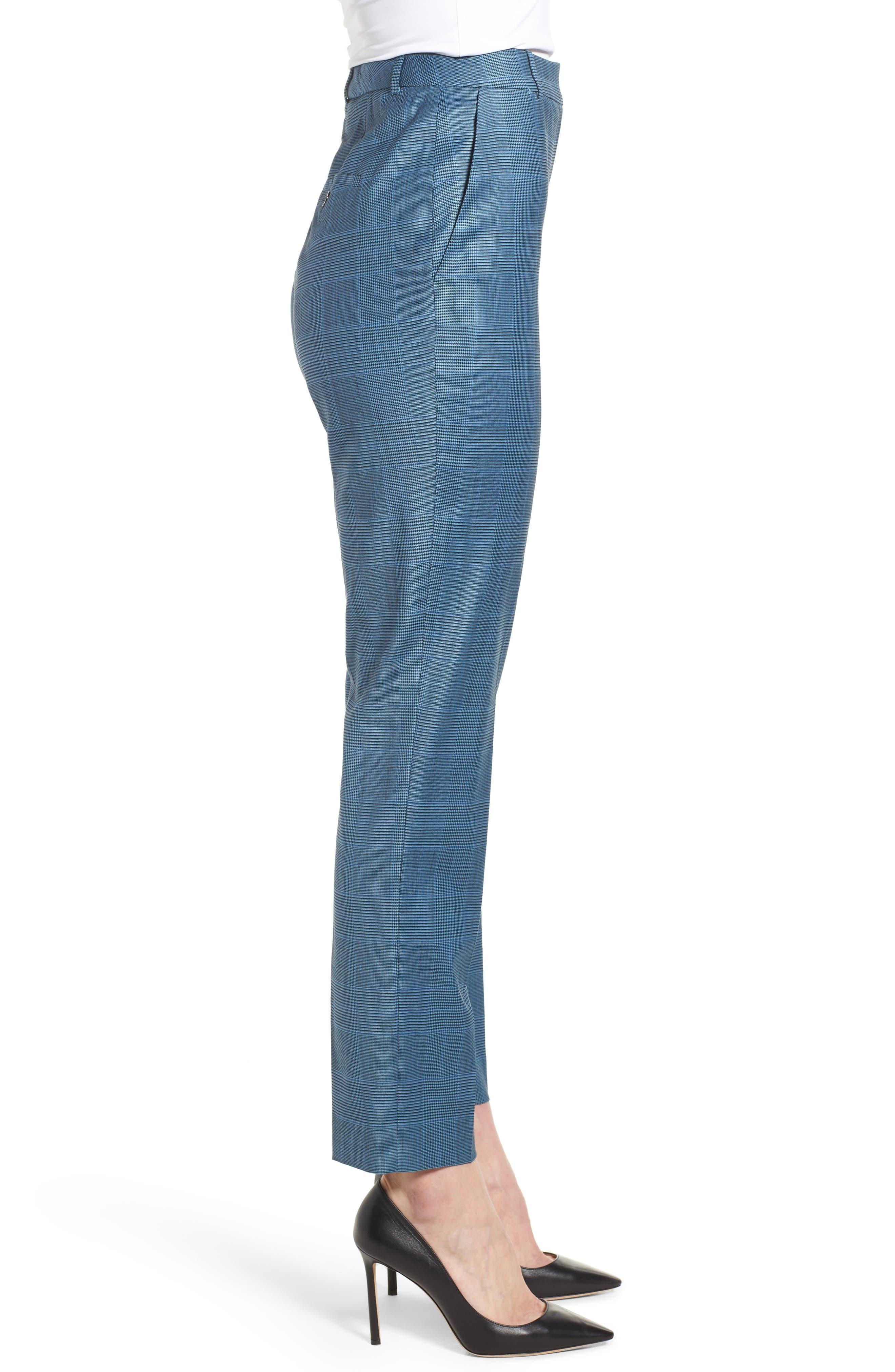 Tofilia Glencheck Slim Fit Trousers,                             Alternate thumbnail 3, color,                             Sailor Blue Fantasy