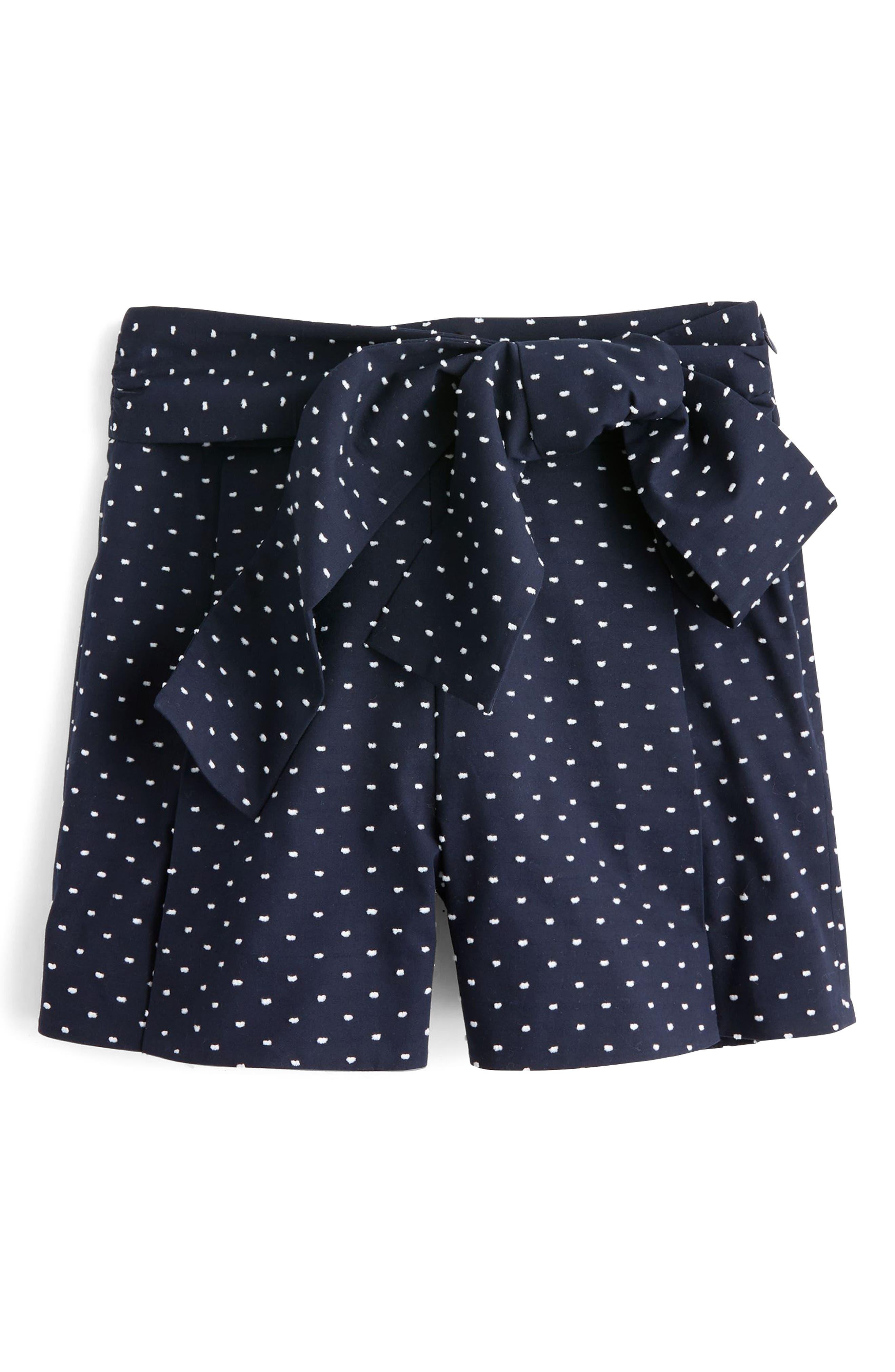 Tie Waist Dot Shorts,                             Alternate thumbnail 3, color,                             Navy White