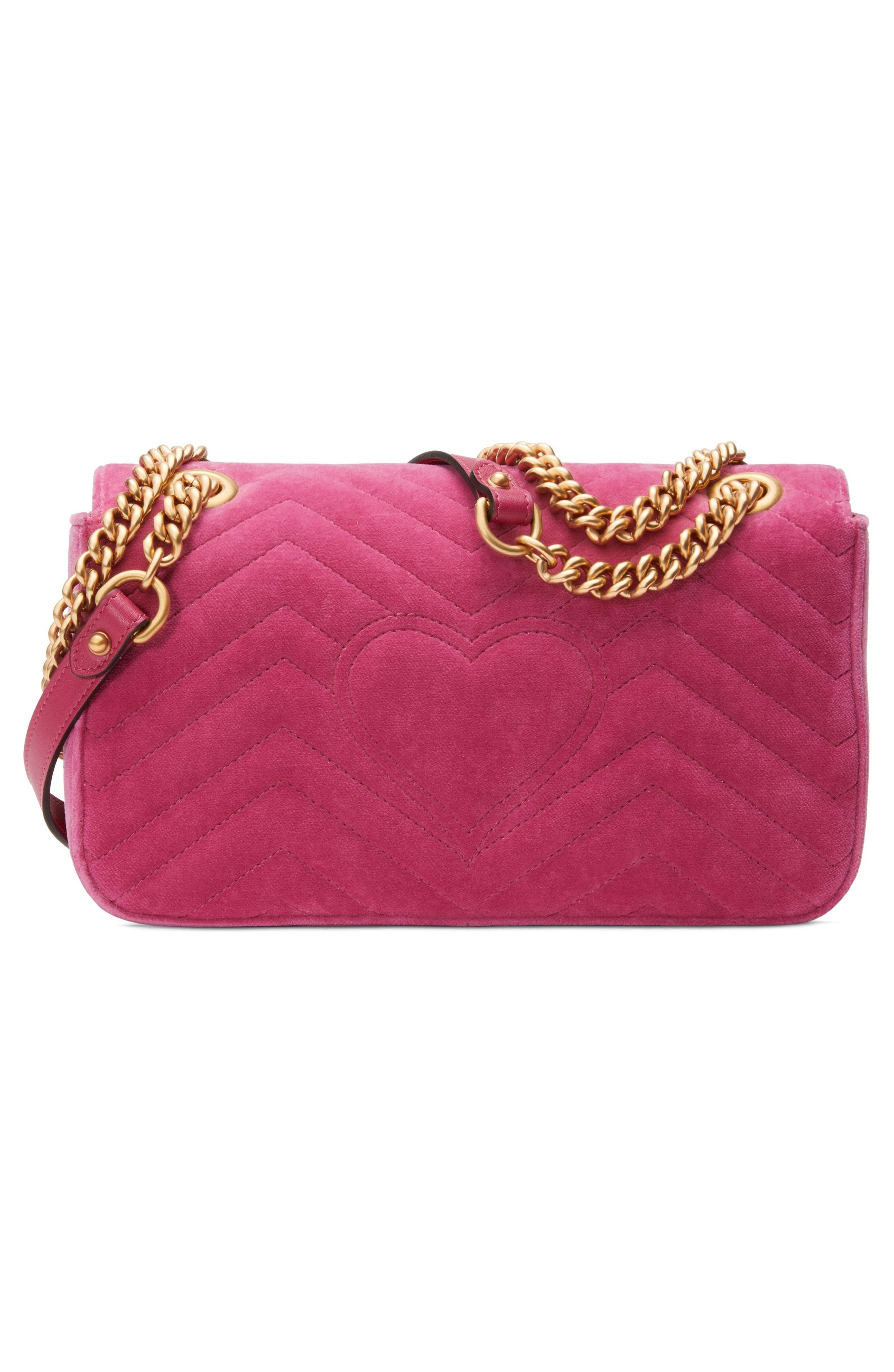 Small GG Marmont 2.0 Matelassé Velvet Shoulder Bag,                             Alternate thumbnail 2, color,                             Raspberry/ Raspberry Multi