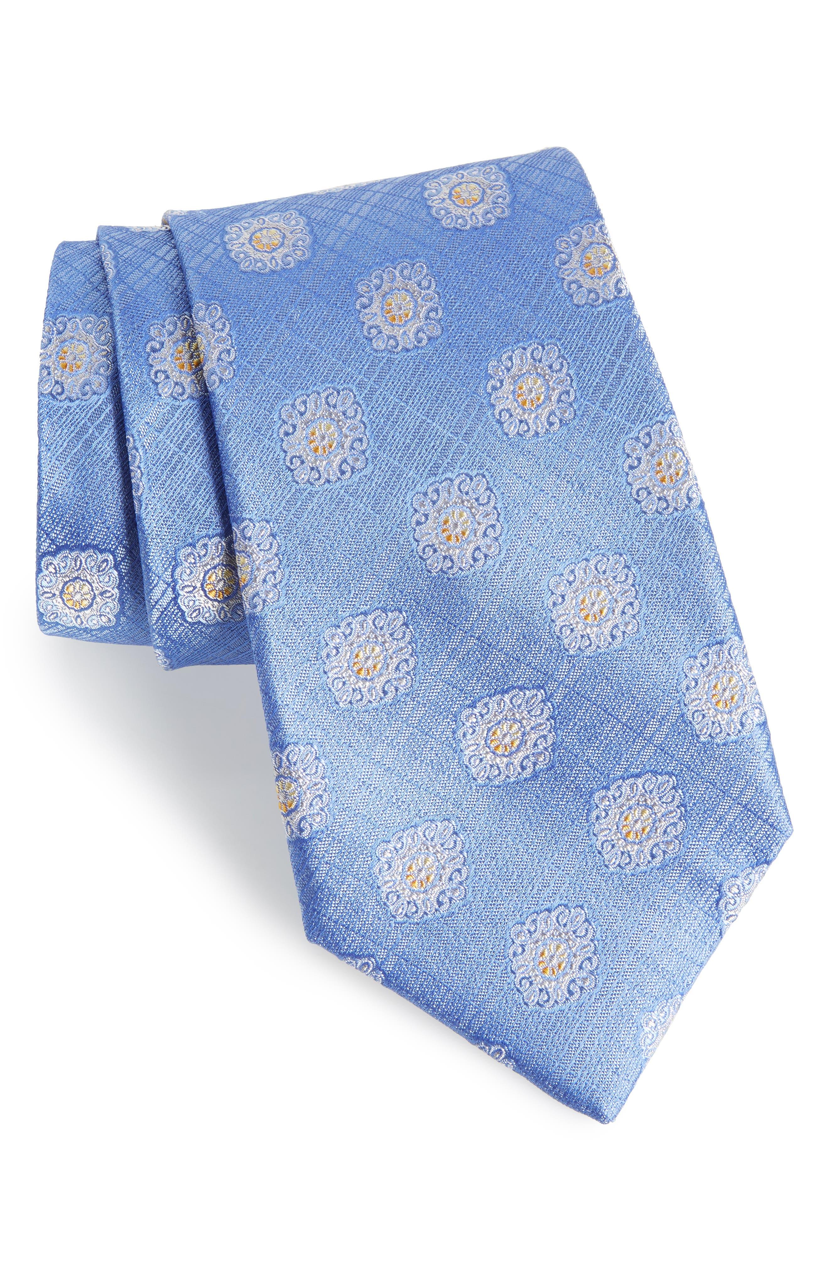 Armas Medallion Silk Tie,                         Main,                         color, Blue