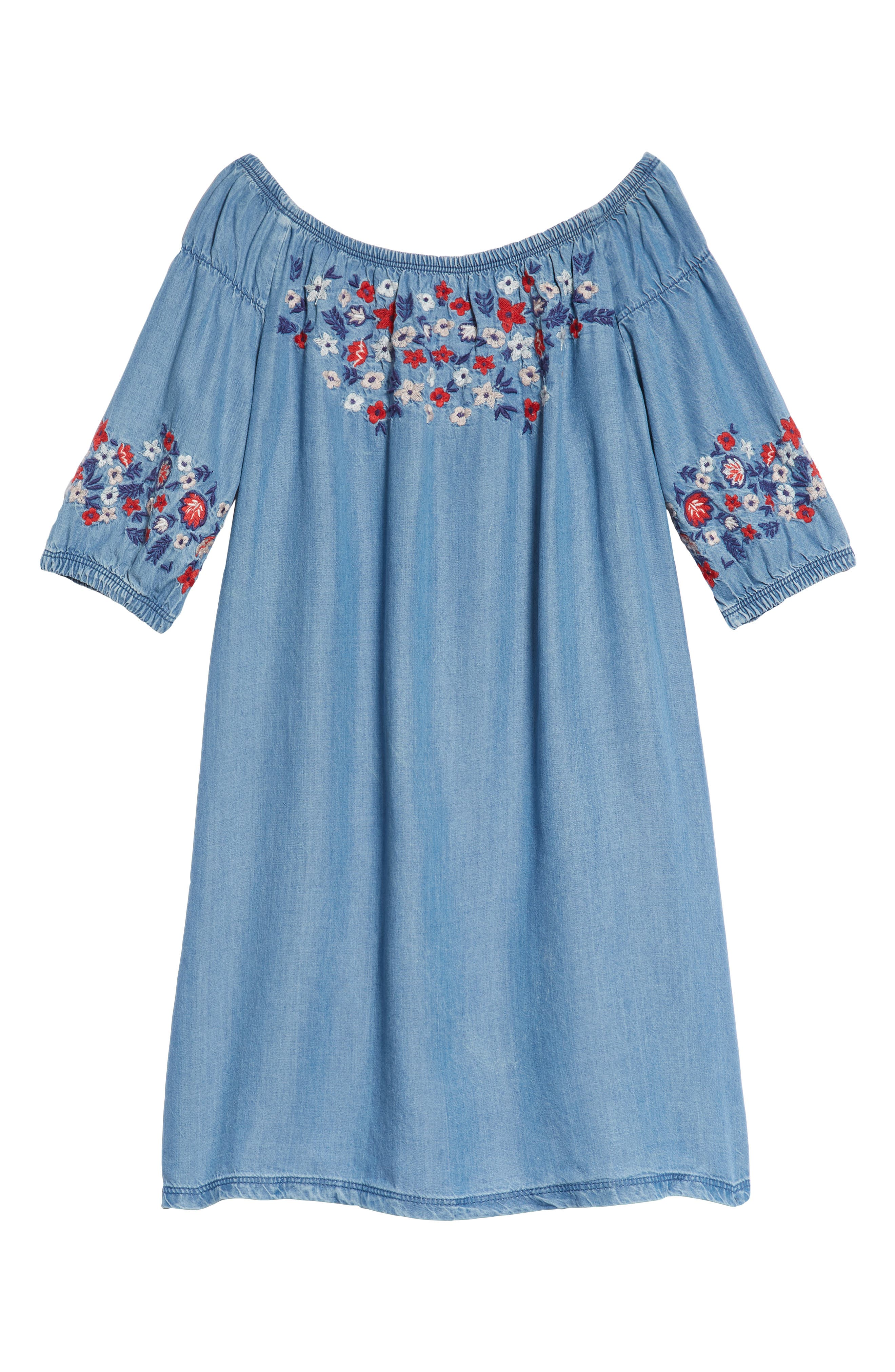 Flower Embroidered Off-the-Shoulder Dress,                             Main thumbnail 1, color,                             Blue River Wash
