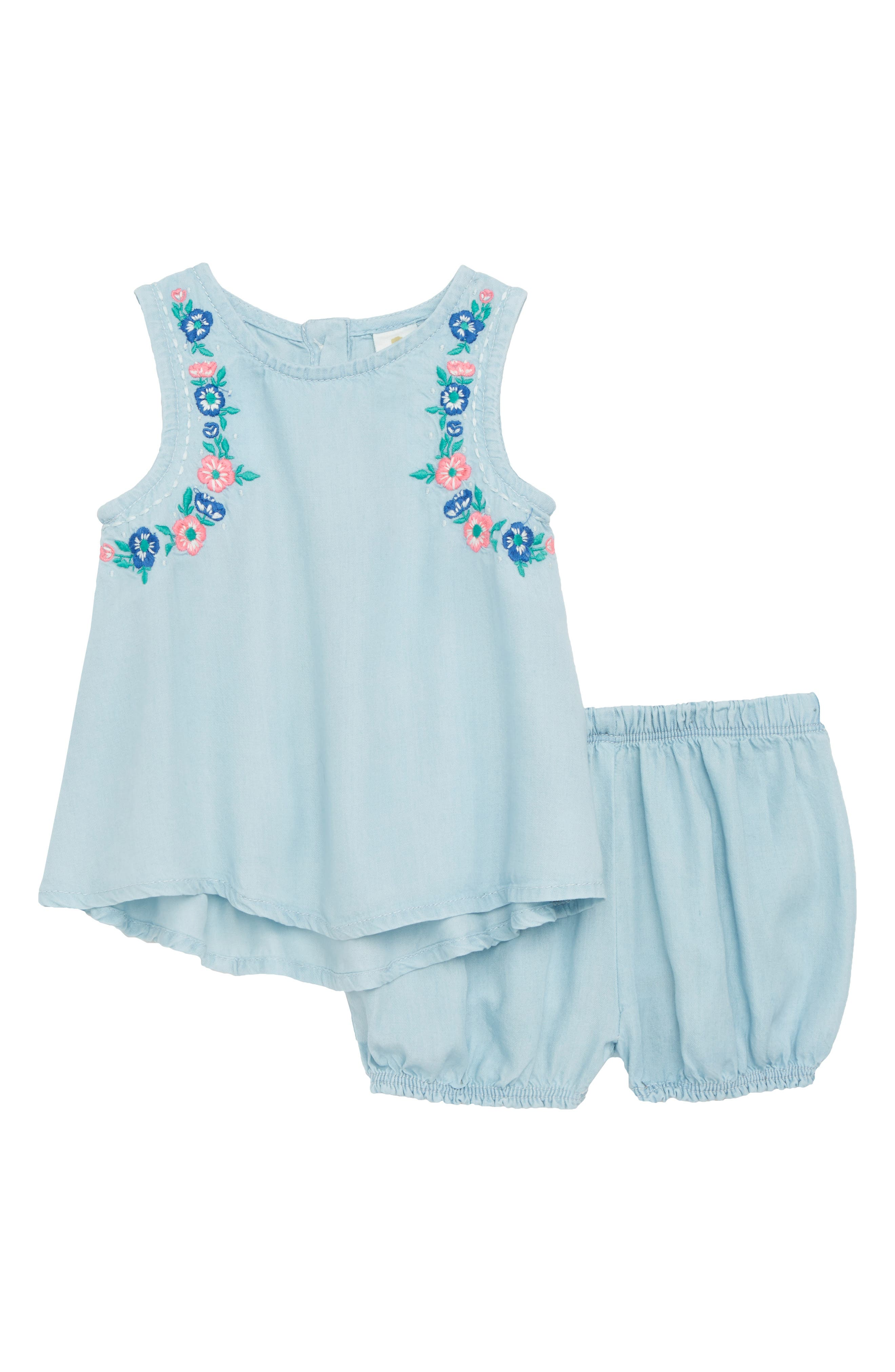 Embroidered Swing Top & Bloomers,                             Main thumbnail 1, color,                             Light Blue Wash