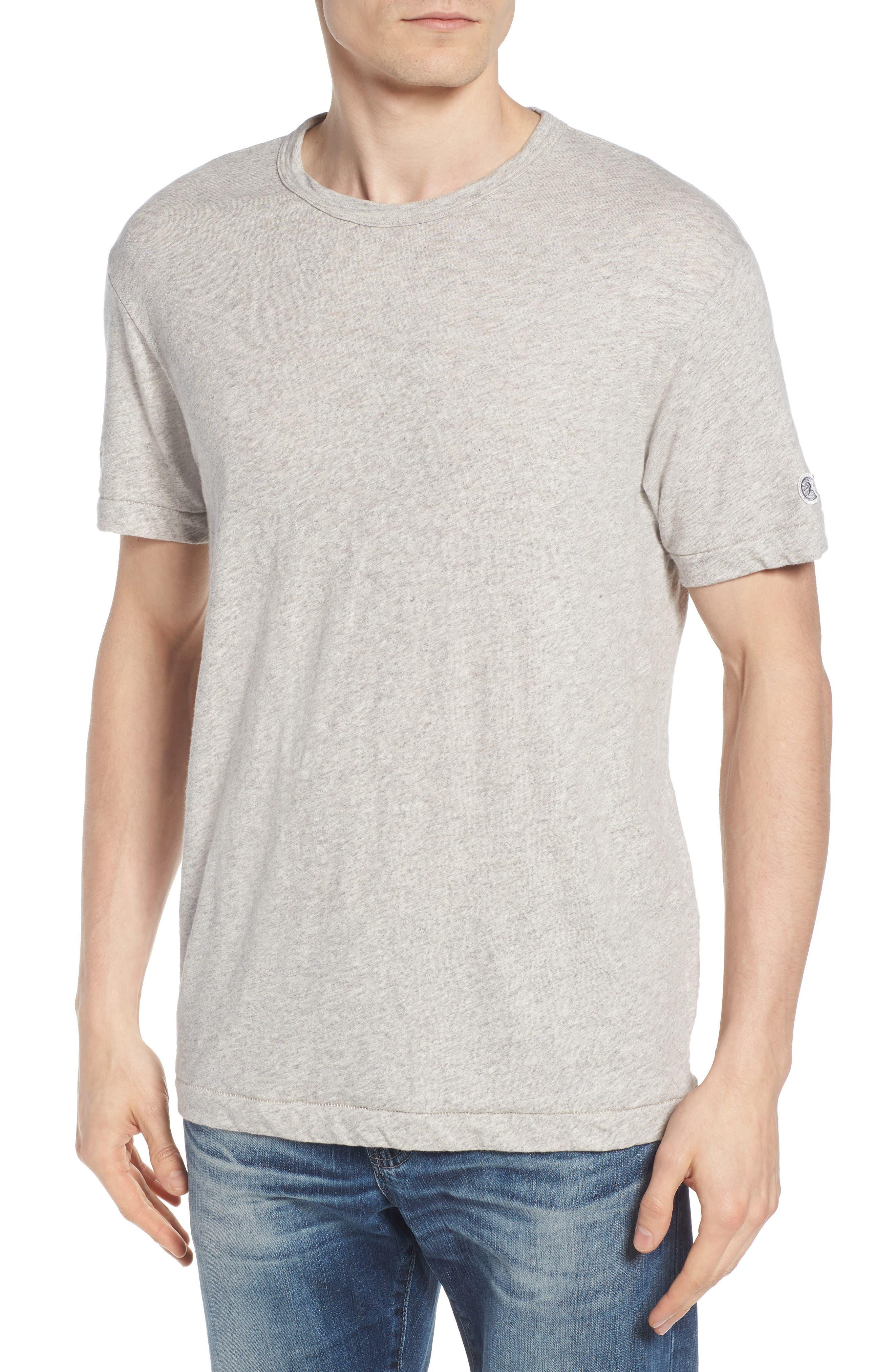 + Champion Heathered Crewneck T-Shirt,                             Main thumbnail 1, color,                             Antique Grey Mix