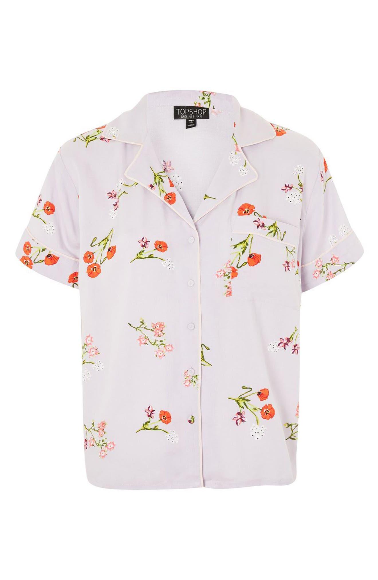 Poppy Pajama Shirt,                             Alternate thumbnail 3, color,                             Light Blue Multi