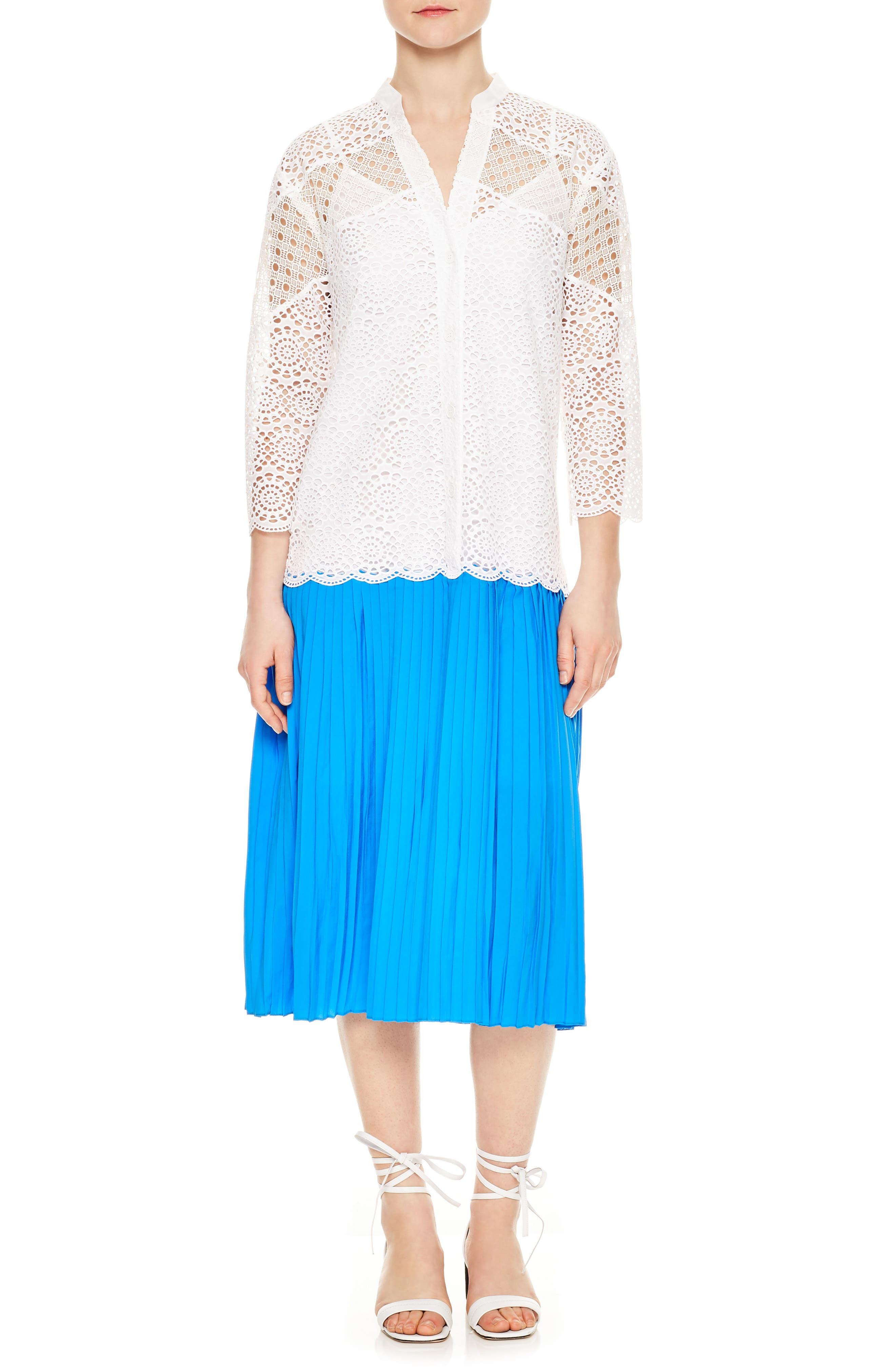 Drop Waist Lace Pleated Dress,                             Main thumbnail 1, color,                             Blanc