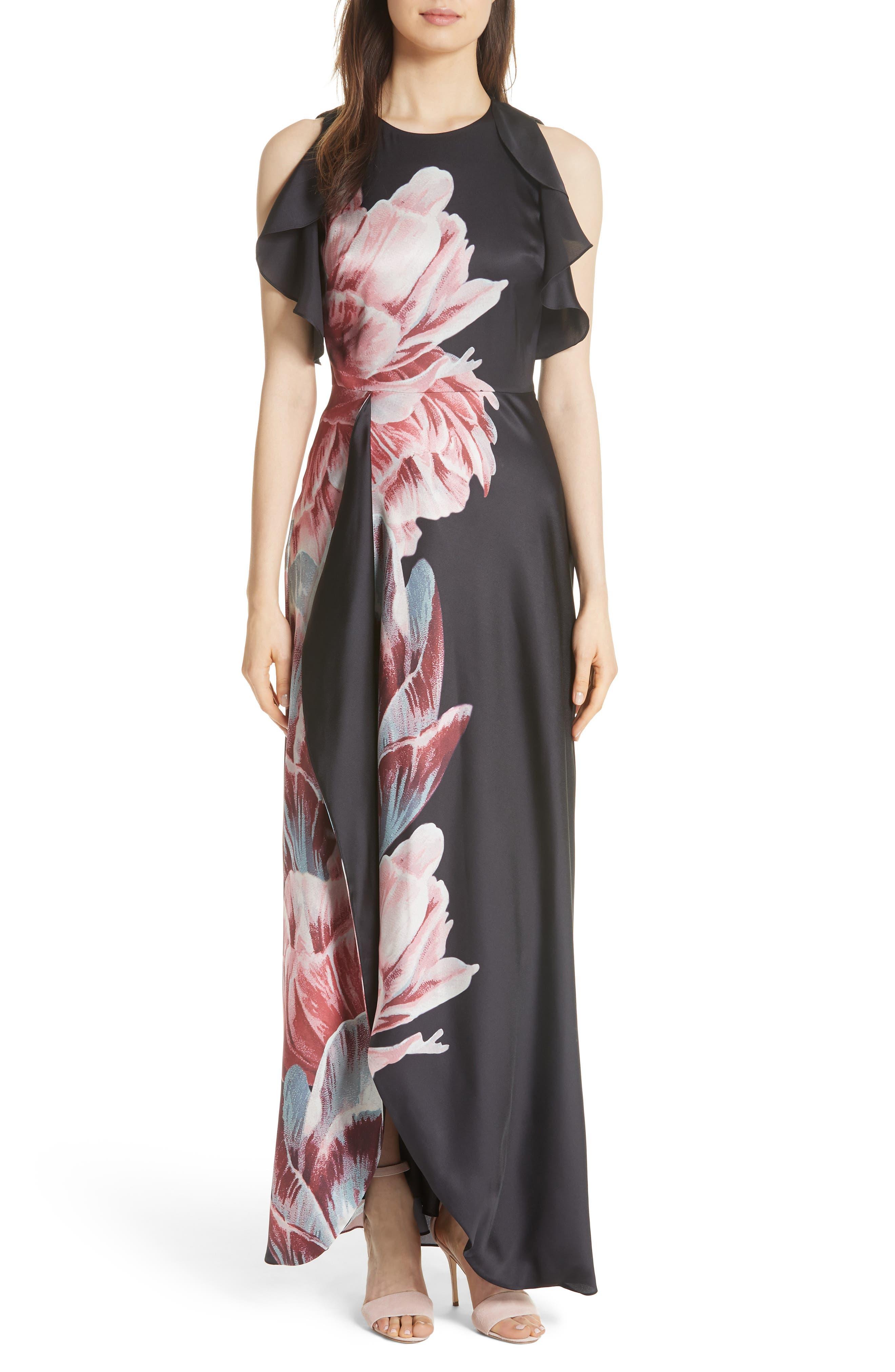 Ulrika Tranquility Ruffle Maxi Dress,                             Main thumbnail 1, color,                             Black