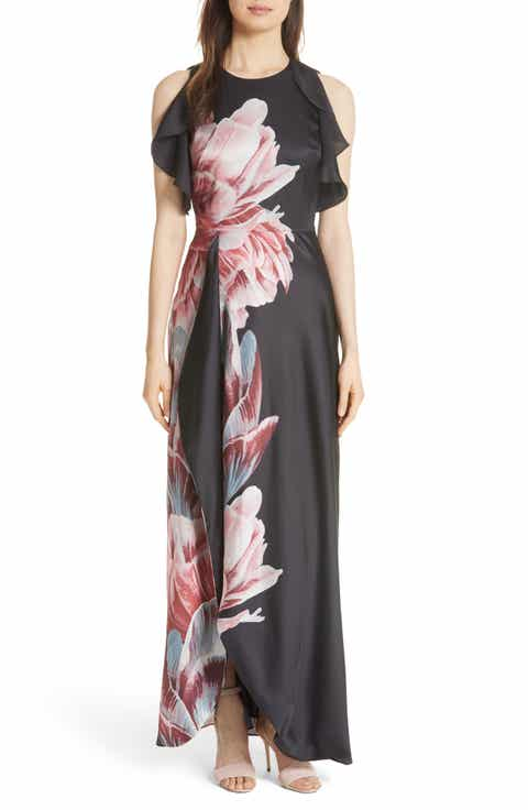 Ted Baker London Ulrika Tranquility Ruffle Maxi Dress