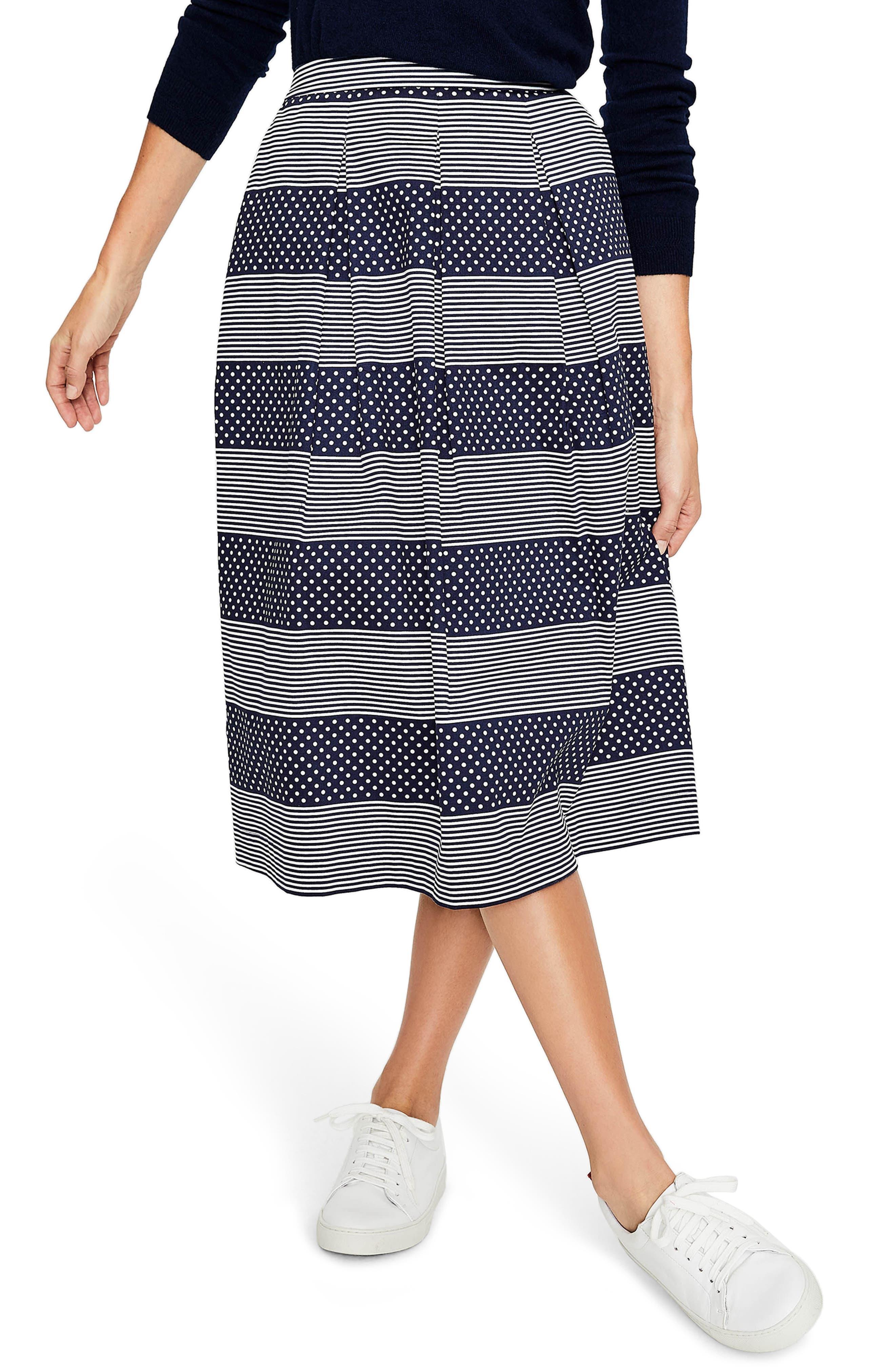 Lola Floral Flared Skirt,                         Main,                         color, Navy/ Spot Stripe