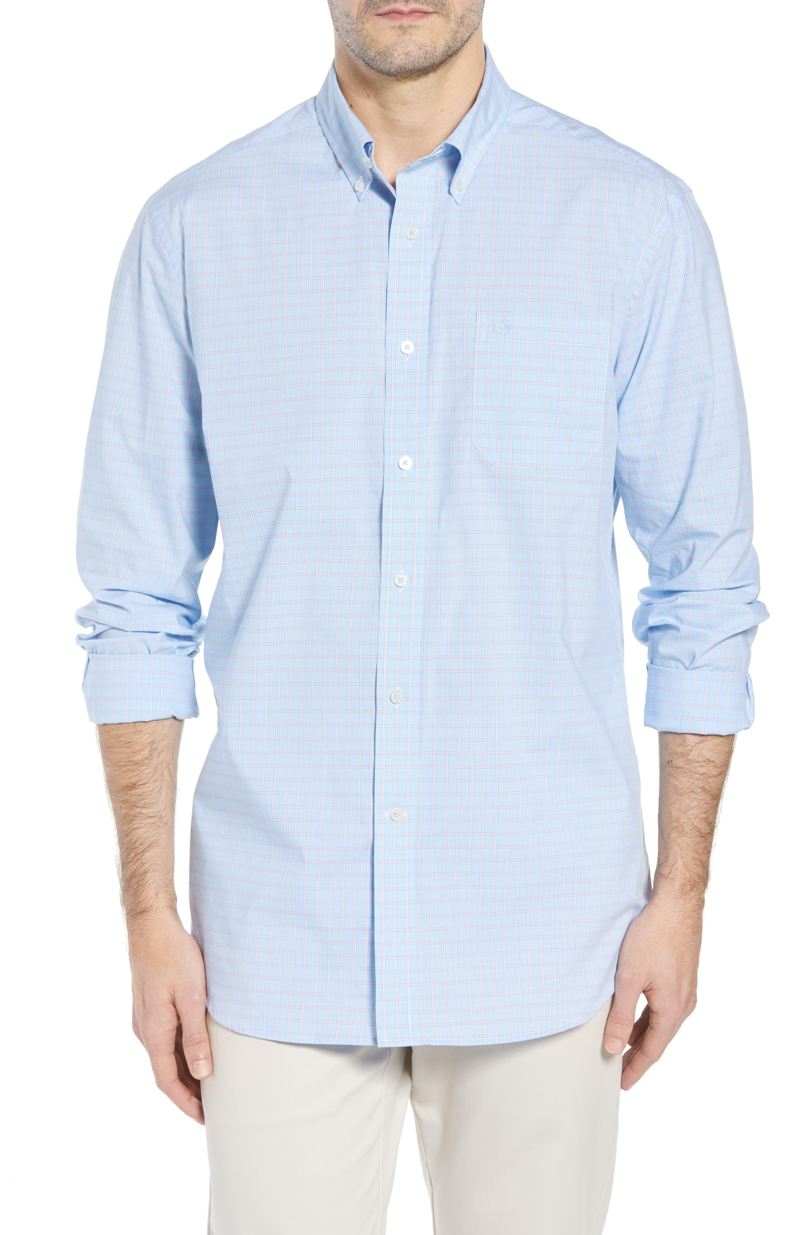 Buck Island Regular Fit Stretch Check Sport Shirt,                         Main,                         color, Blue Stream