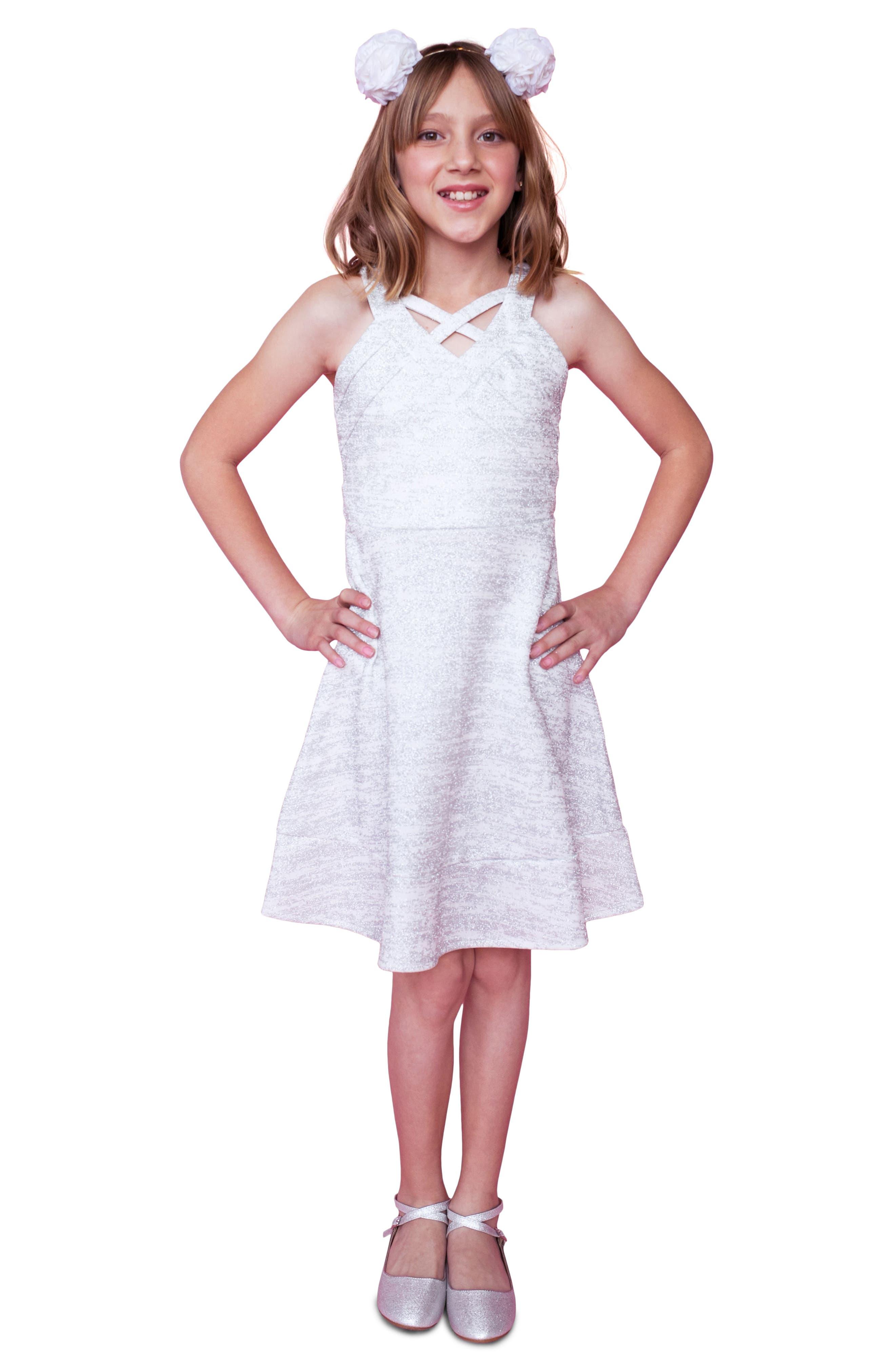Glitter Scuba Skater Dress,                             Alternate thumbnail 5, color,                             Ivory/ Silver