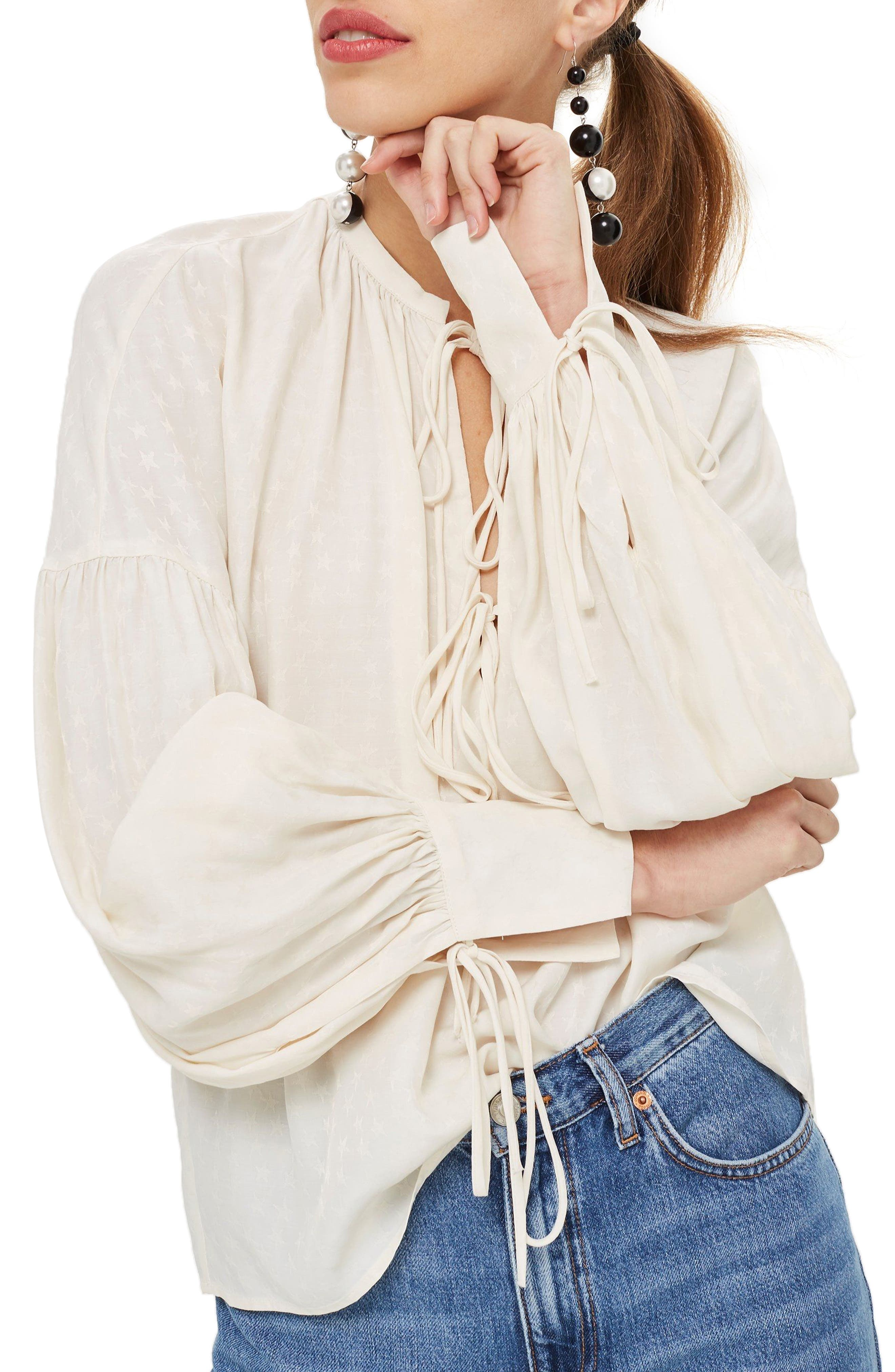 Star Jacquard Gypsy Blouse,                         Main,                         color, Ivory