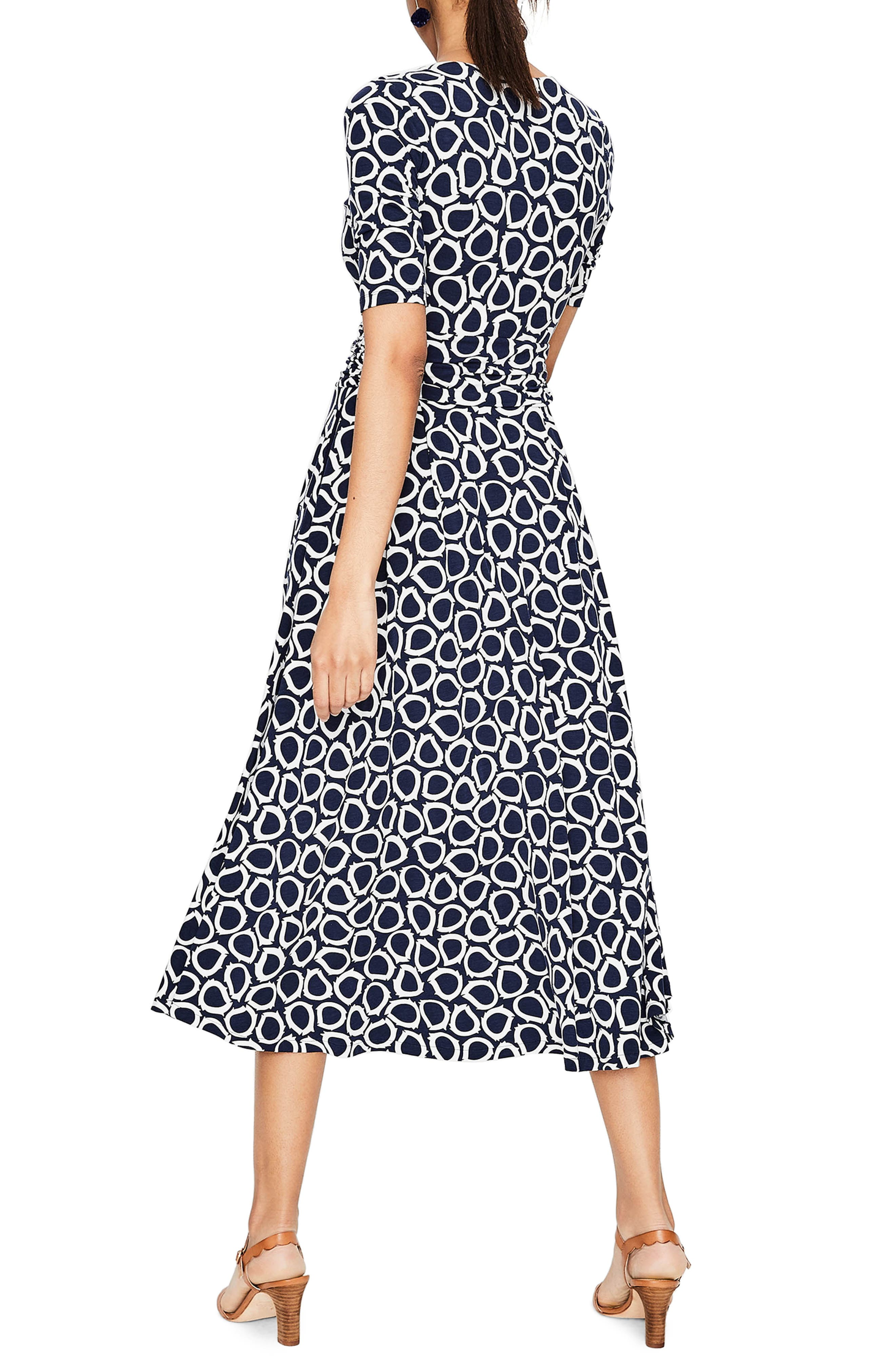 Kassidy Print Jersey Midi Dress,                             Alternate thumbnail 2, color,                             Navy Summer Leaves