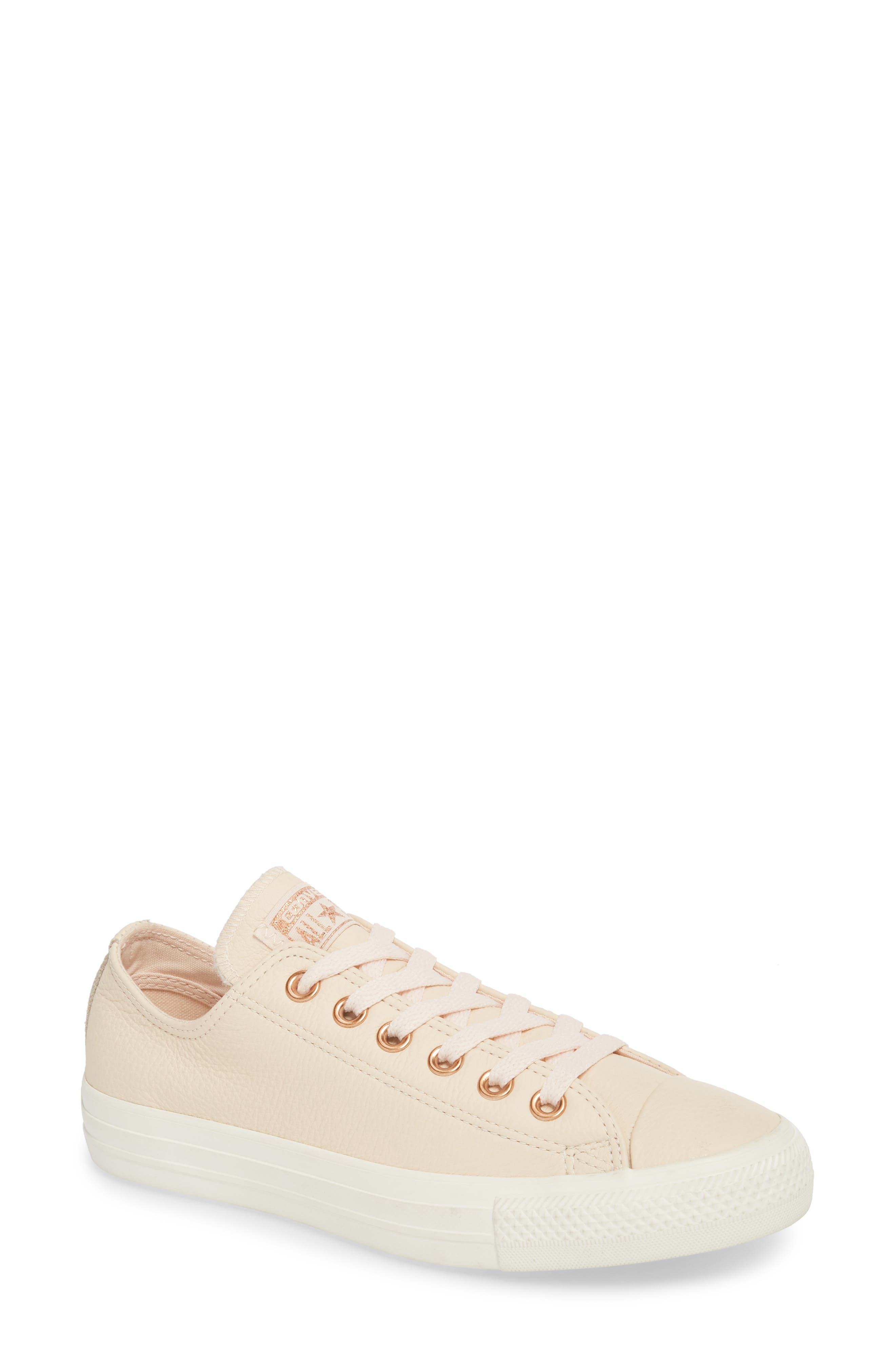 Chuck Taylor<sup>®</sup> All Star<sup>®</sup> Seasonal Ox Low Top Sneaker,                         Main,                         color, Pastel Rose Leather