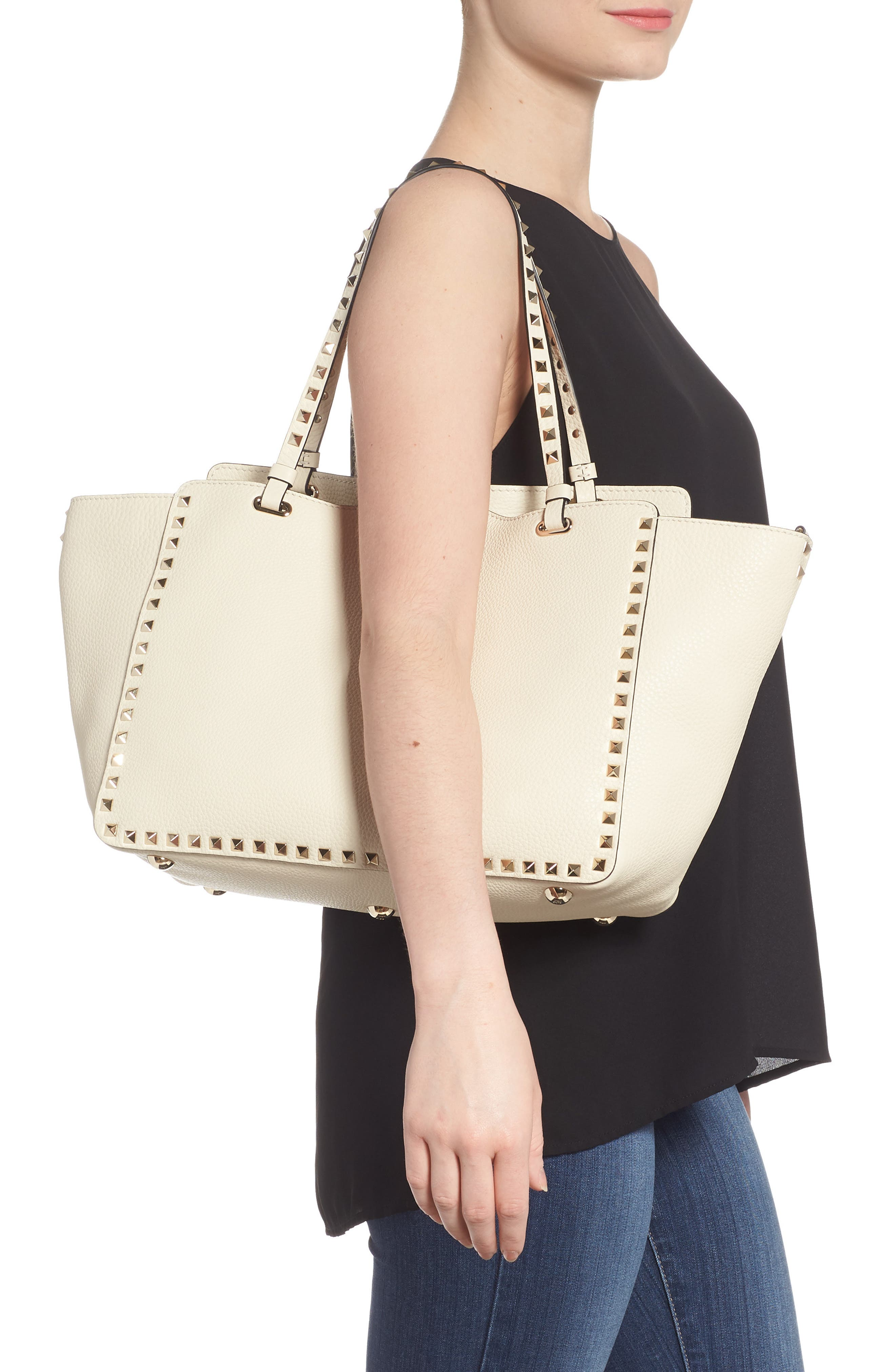 Alternate Image 2  - VALENTINO GARAVANI Medium Rockstud Leather Double Handle Tote