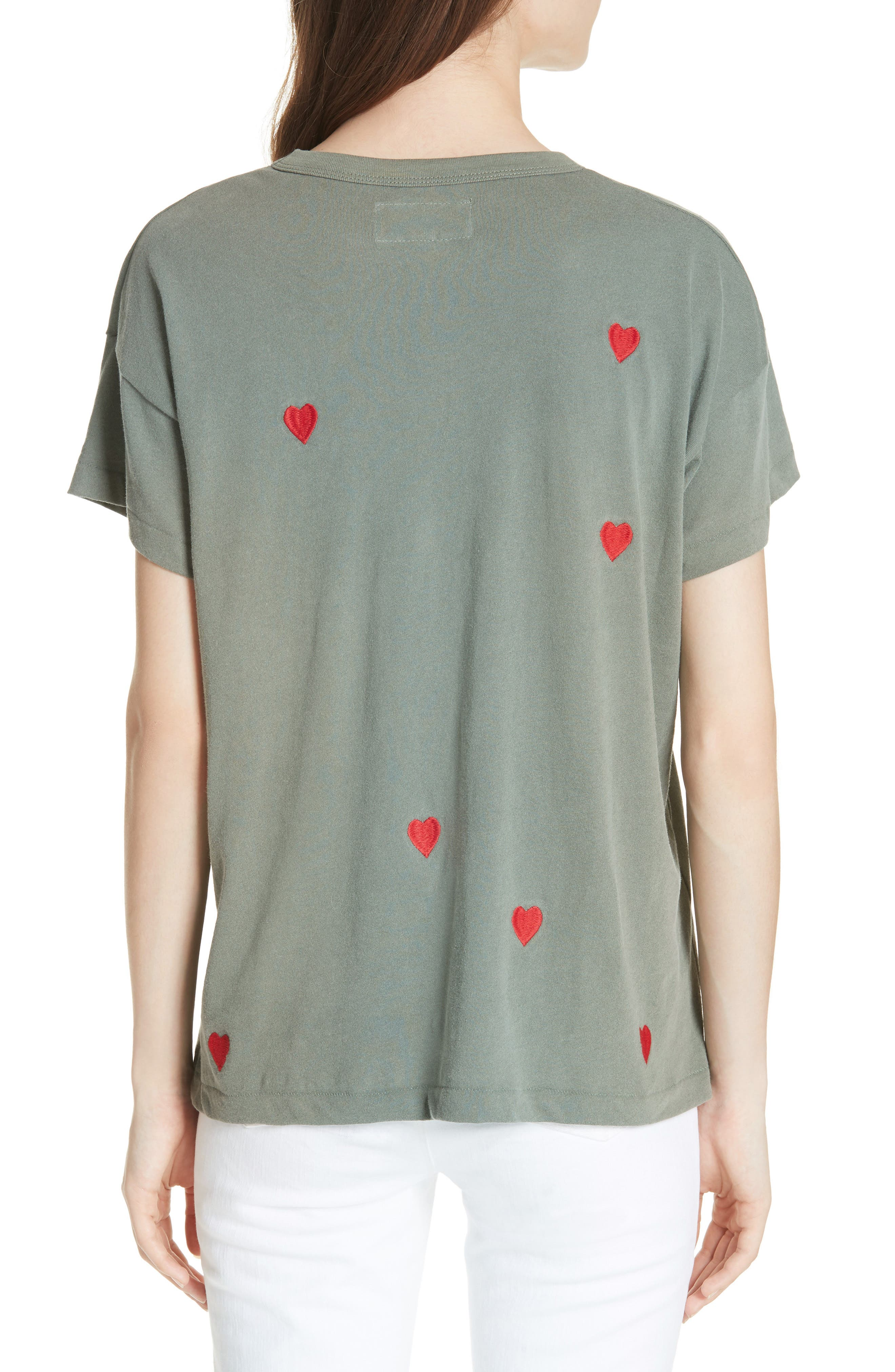 The Embroidered Boxy Crew Tee,                             Alternate thumbnail 2, color,                             Moss Army/ Red Hearts