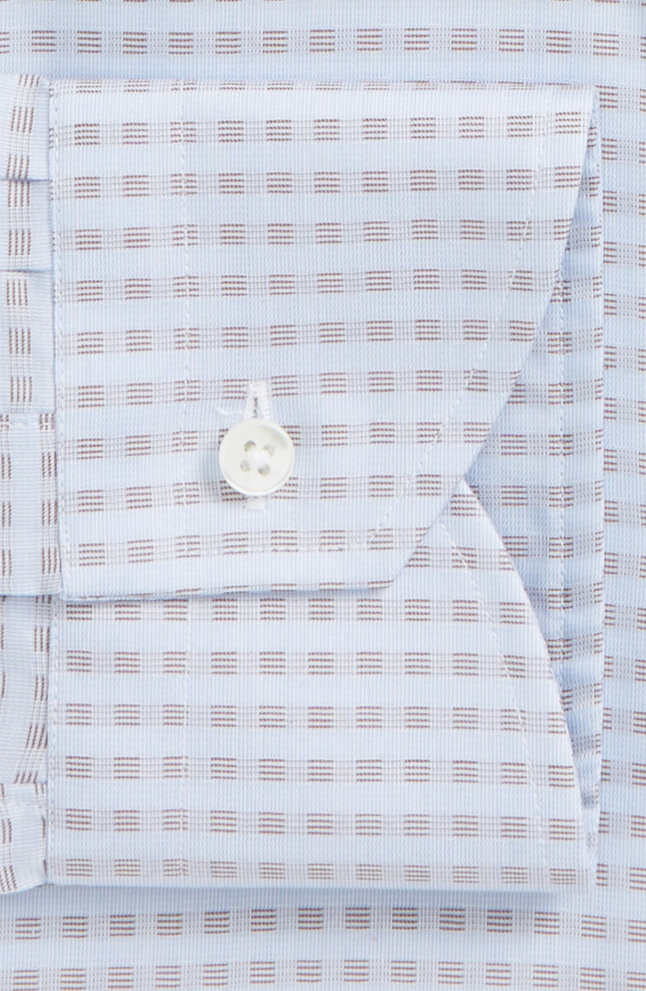 Regular Fit Grid Dress Shirt,                             Alternate thumbnail 2, color,                             Blue/ Light Brown
