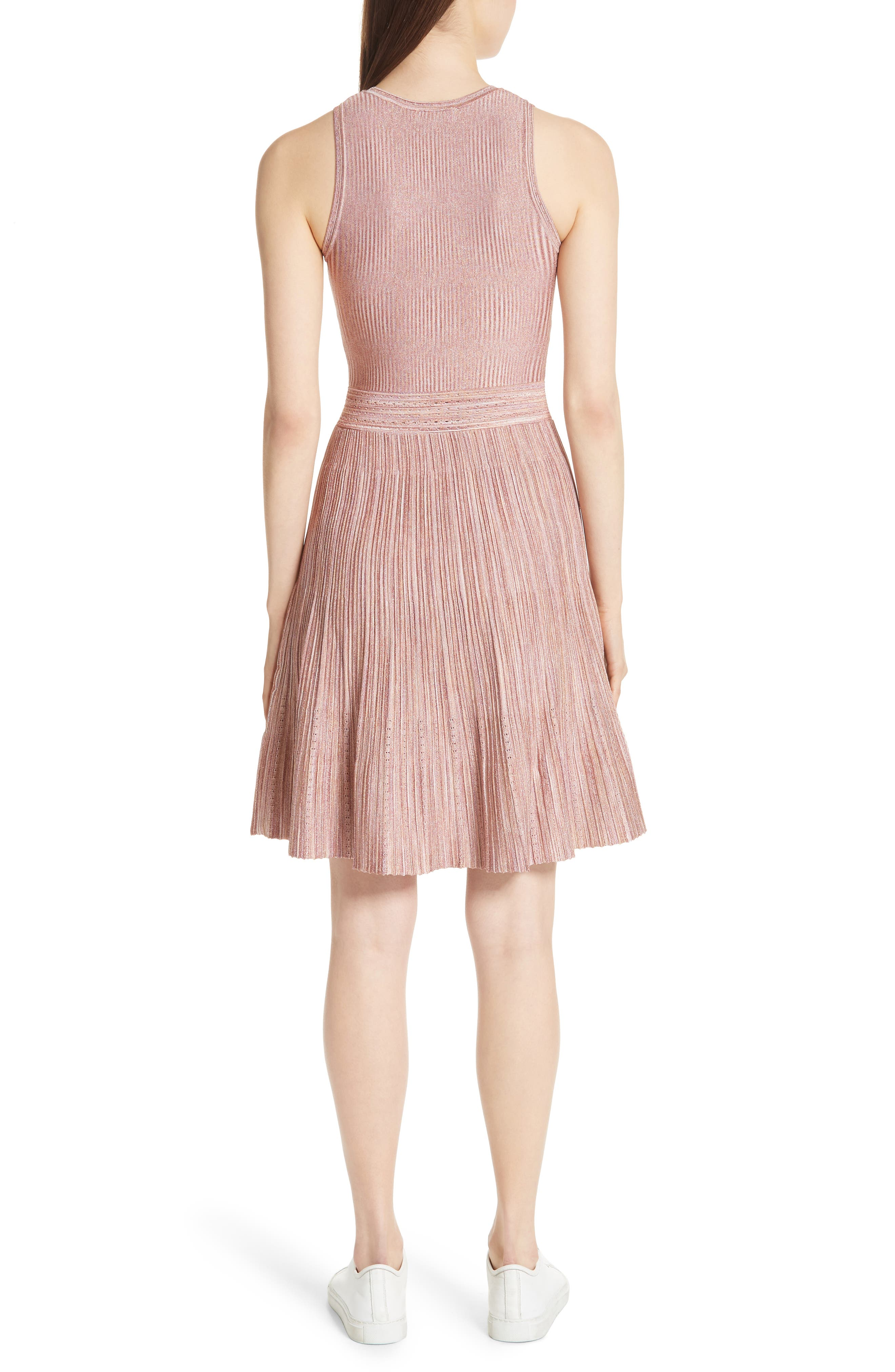 Stretch Knit Fit & Flare Dress,                             Alternate thumbnail 2, color,                             Rose