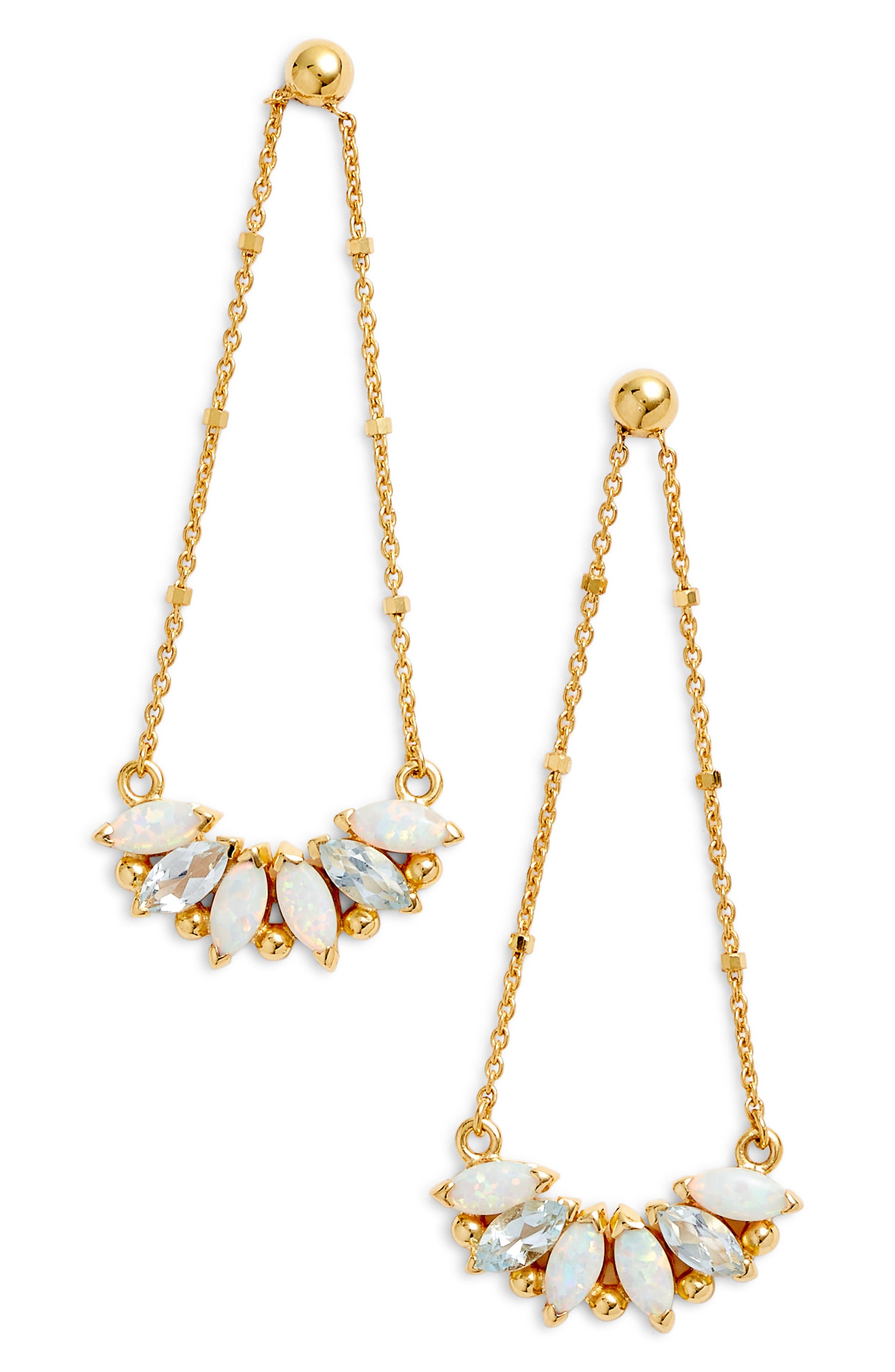 Sydney Multi-Stone Chandelier Earrings,                             Main thumbnail 1, color,                             Gold