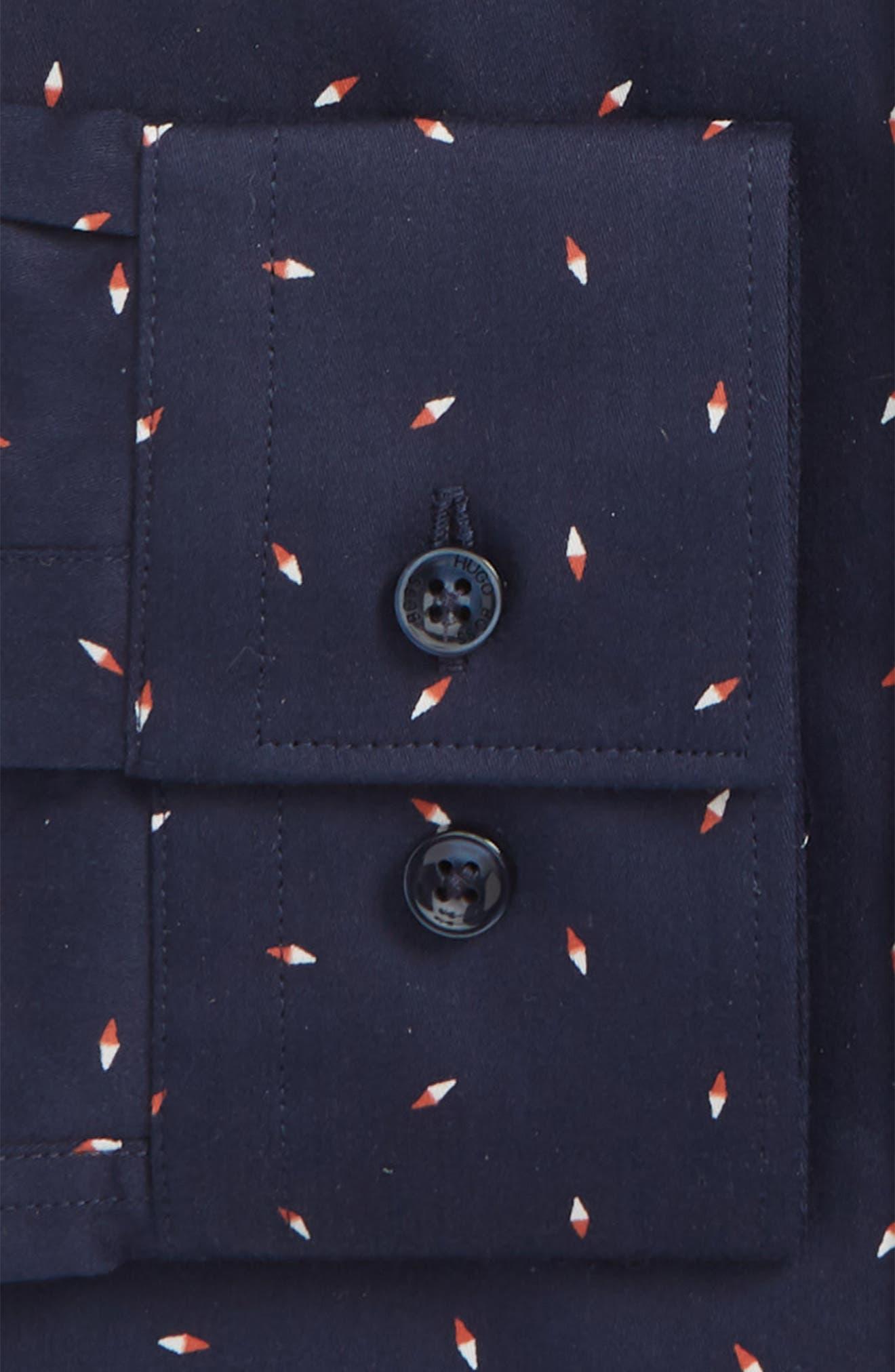 Ismo Slim Fit Print Dress Shirt,                             Alternate thumbnail 5, color,                             Navy