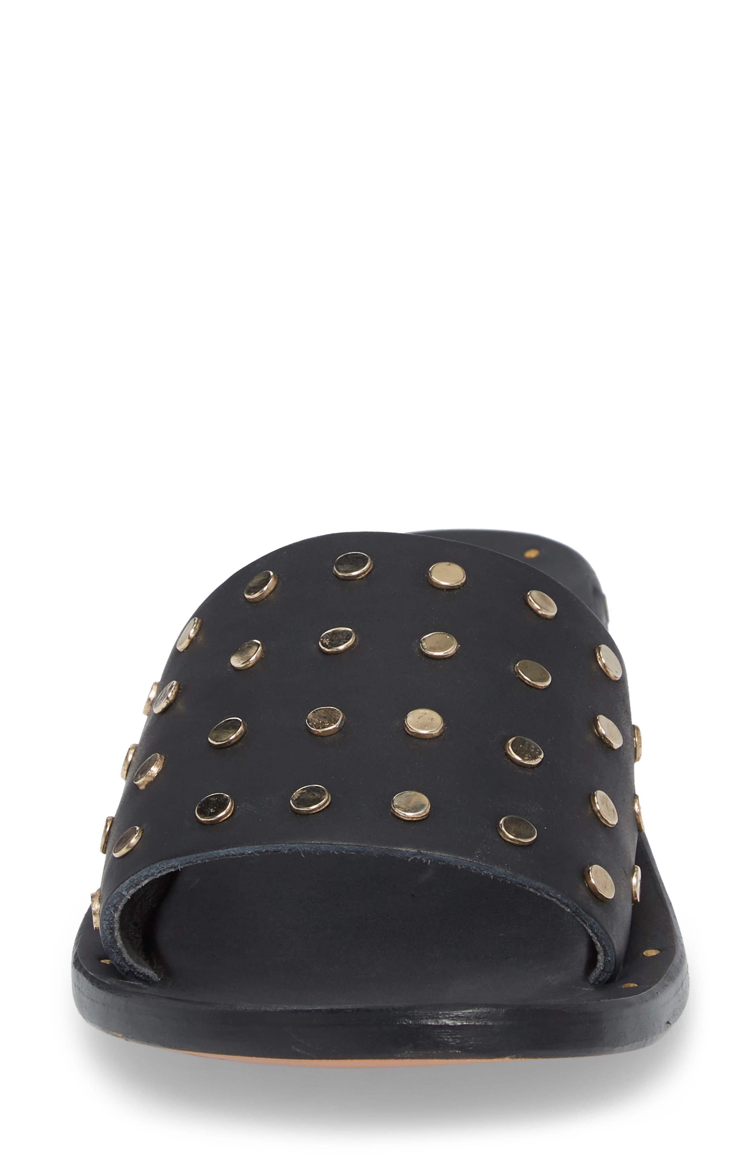 Lovebird Studded Slide Sandal,                             Alternate thumbnail 4, color,                             Black/ Black