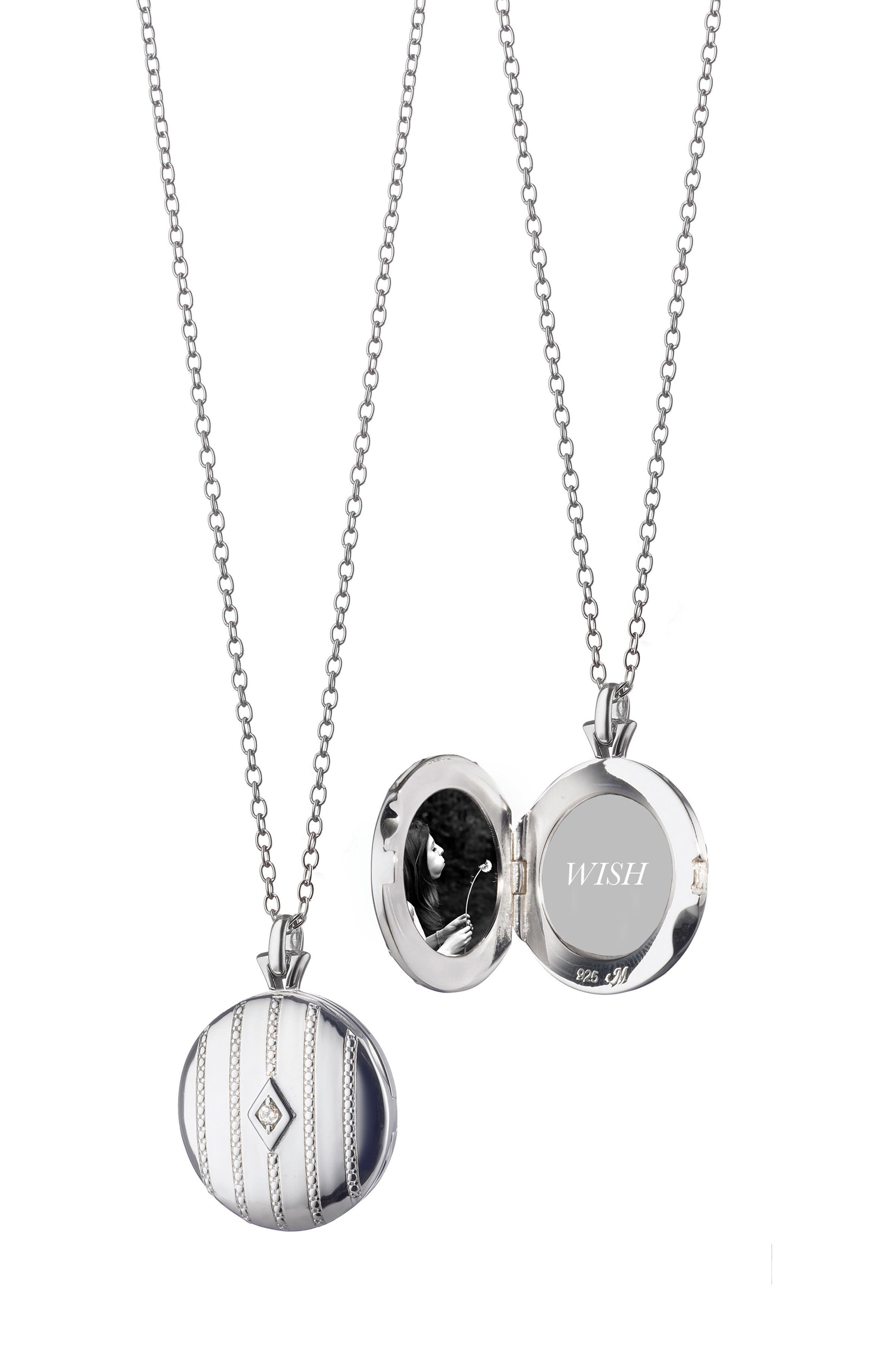 Center Diamond Locket Necklace,                         Main,                         color, Sterling Silver