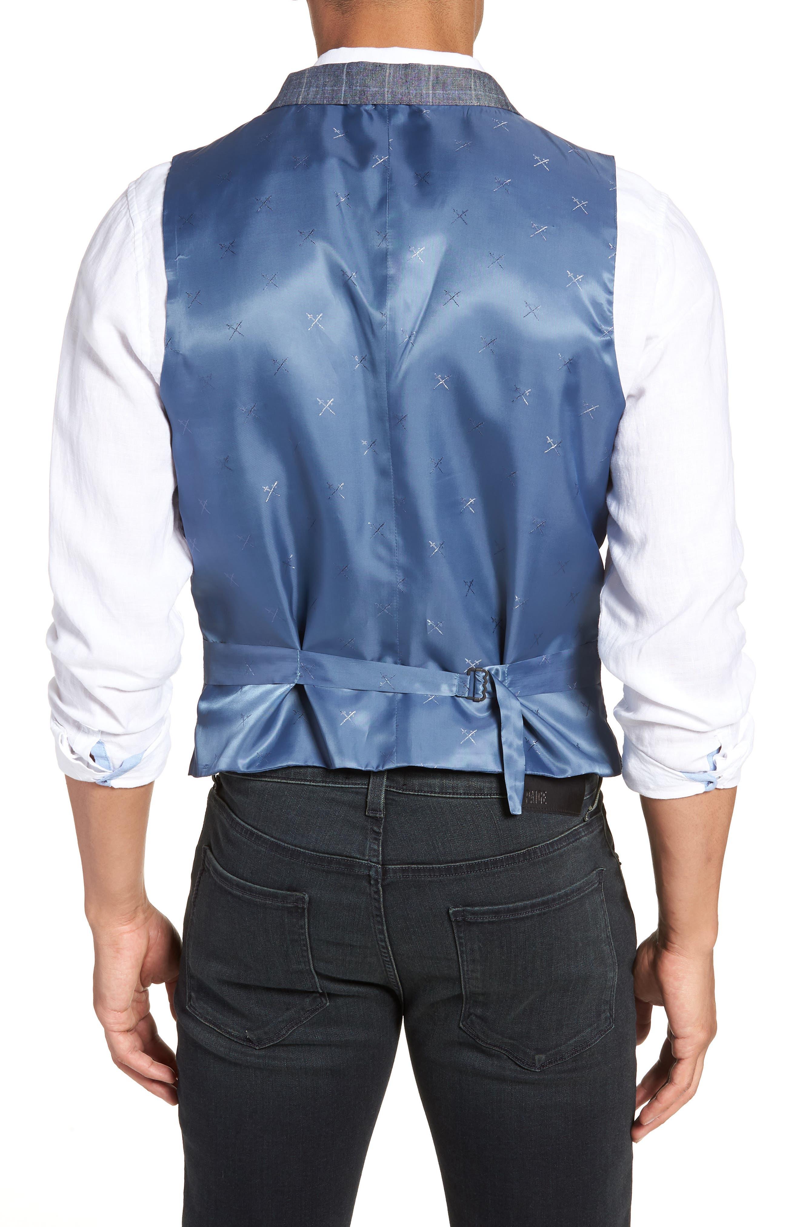Stag Trim Fit Windowpane Linen Vest,                             Alternate thumbnail 2, color,                             Blue Graphite