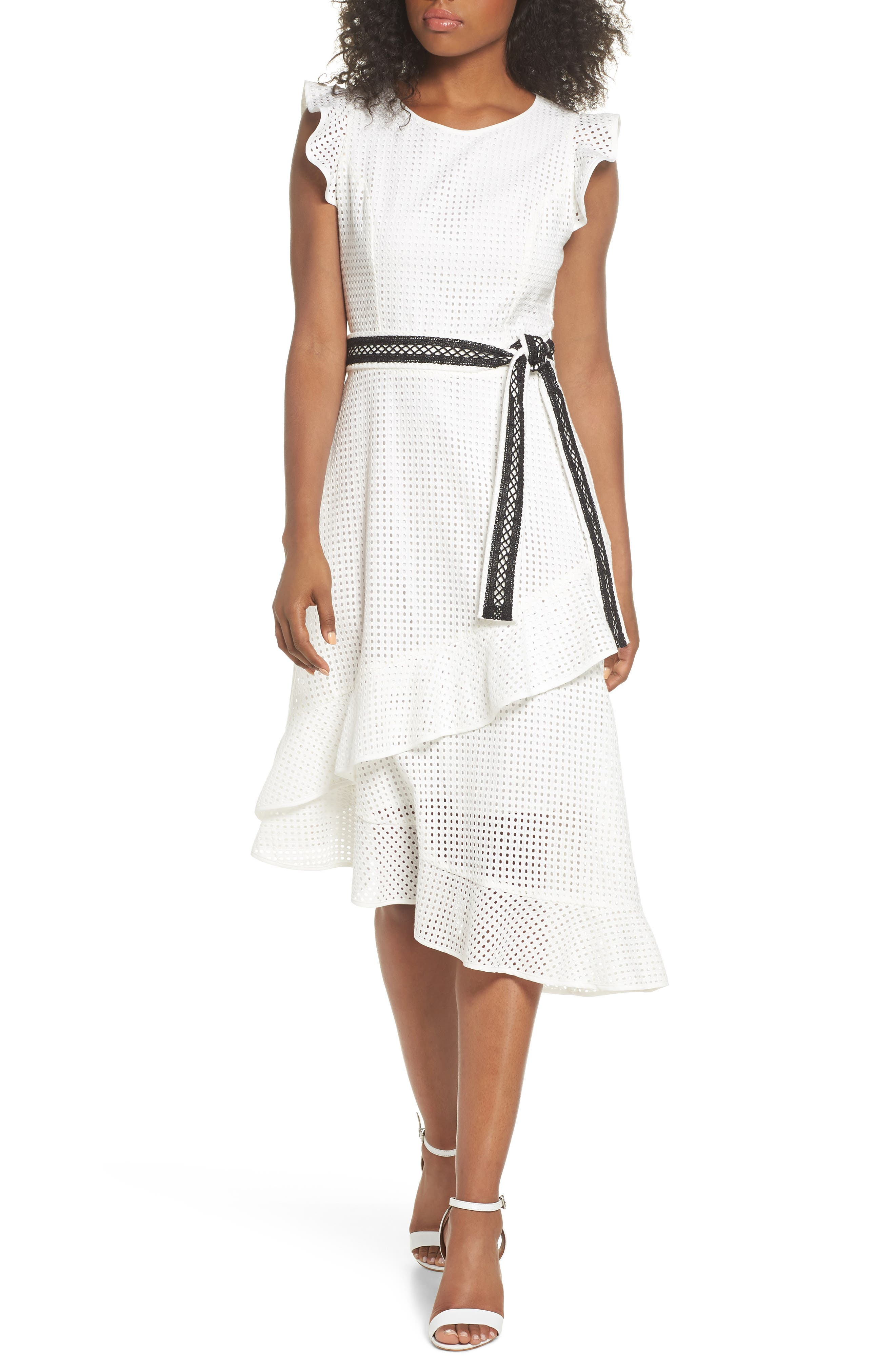 Asymmetrical Hem Dress,                             Main thumbnail 1, color,                             White