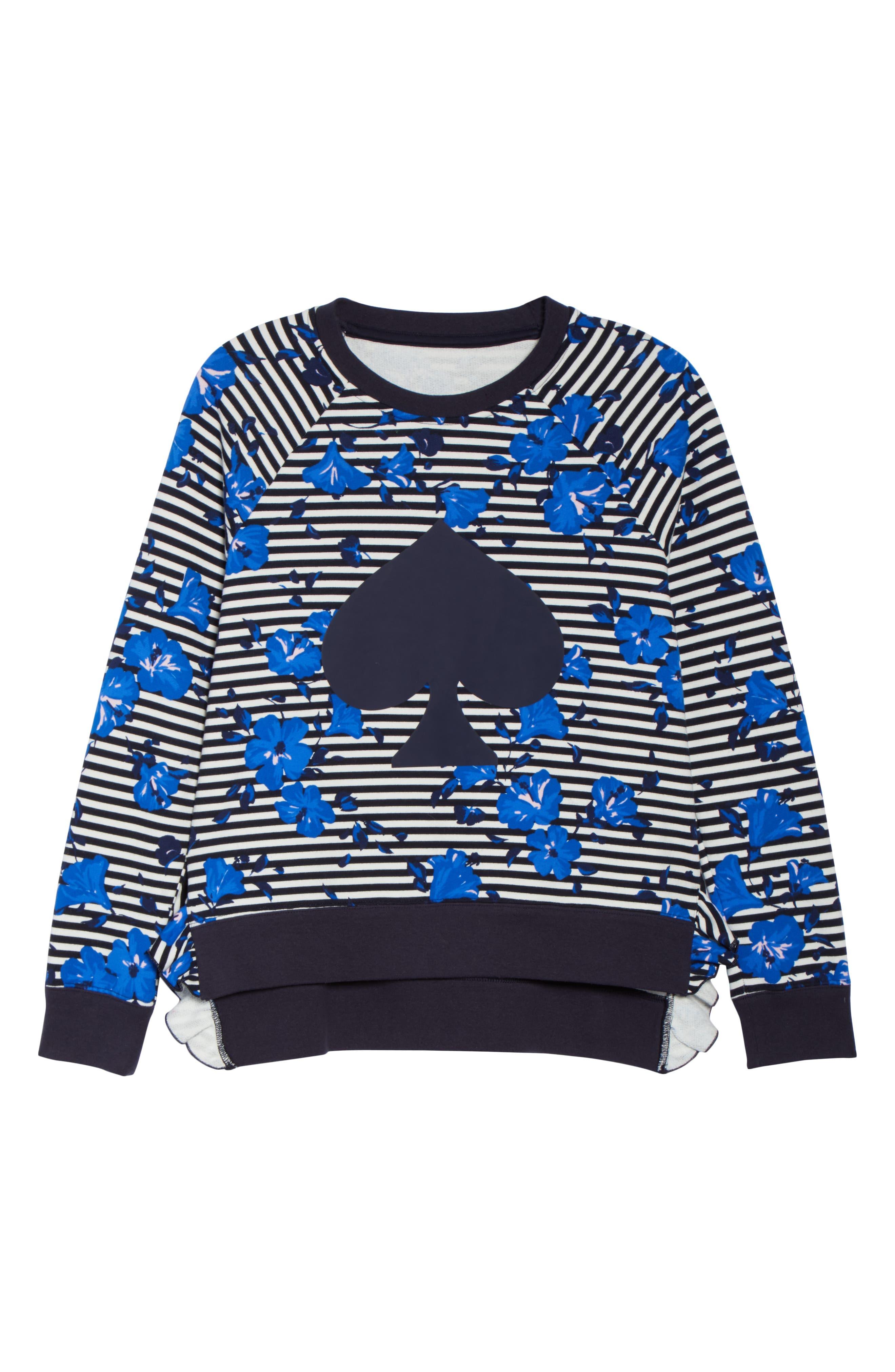 hibiscus stripe sweatshirt,                             Alternate thumbnail 5, color,                             Rich Navy