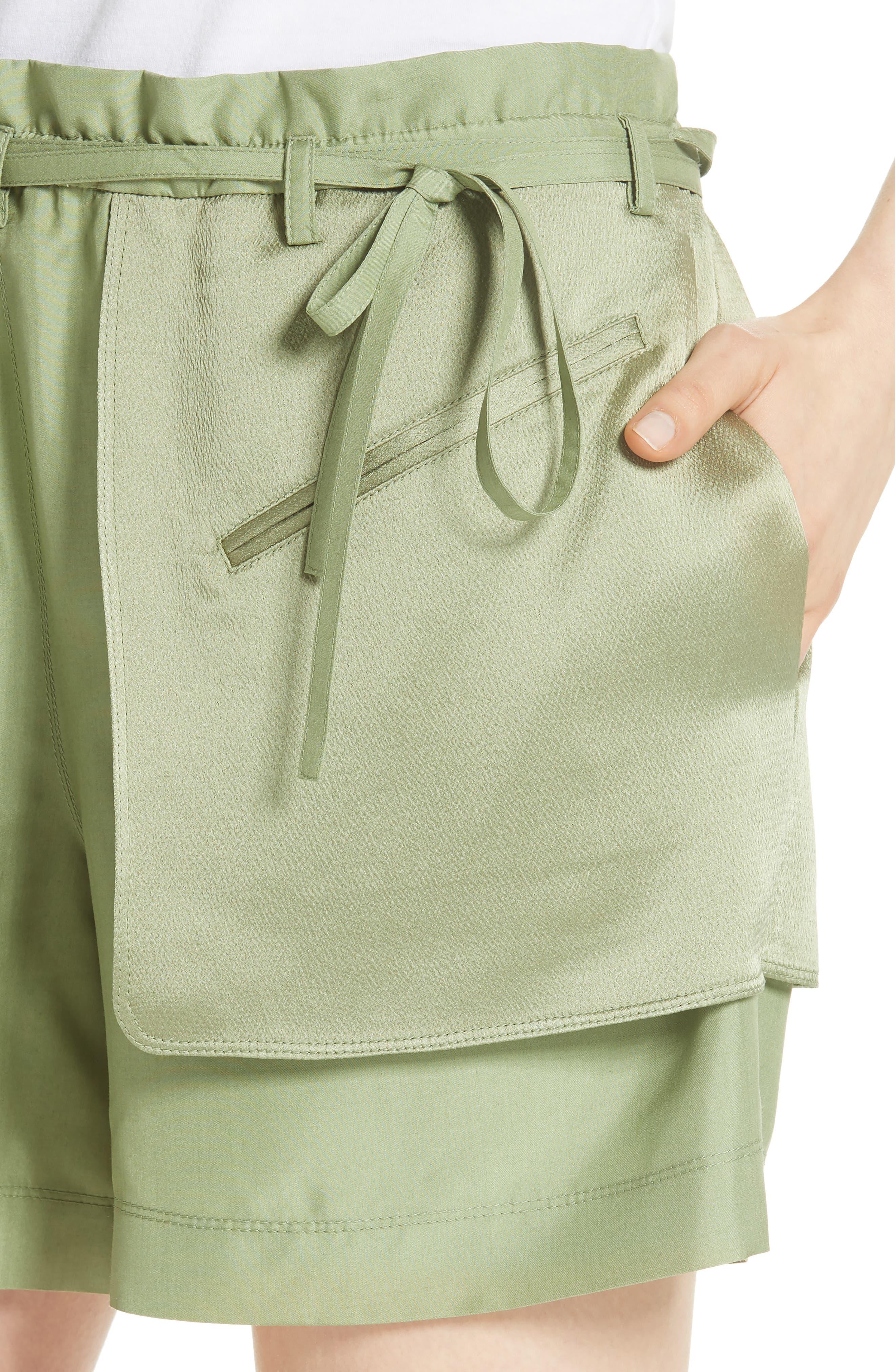 Satin Pocket Shorts,                             Alternate thumbnail 4, color,                             Green