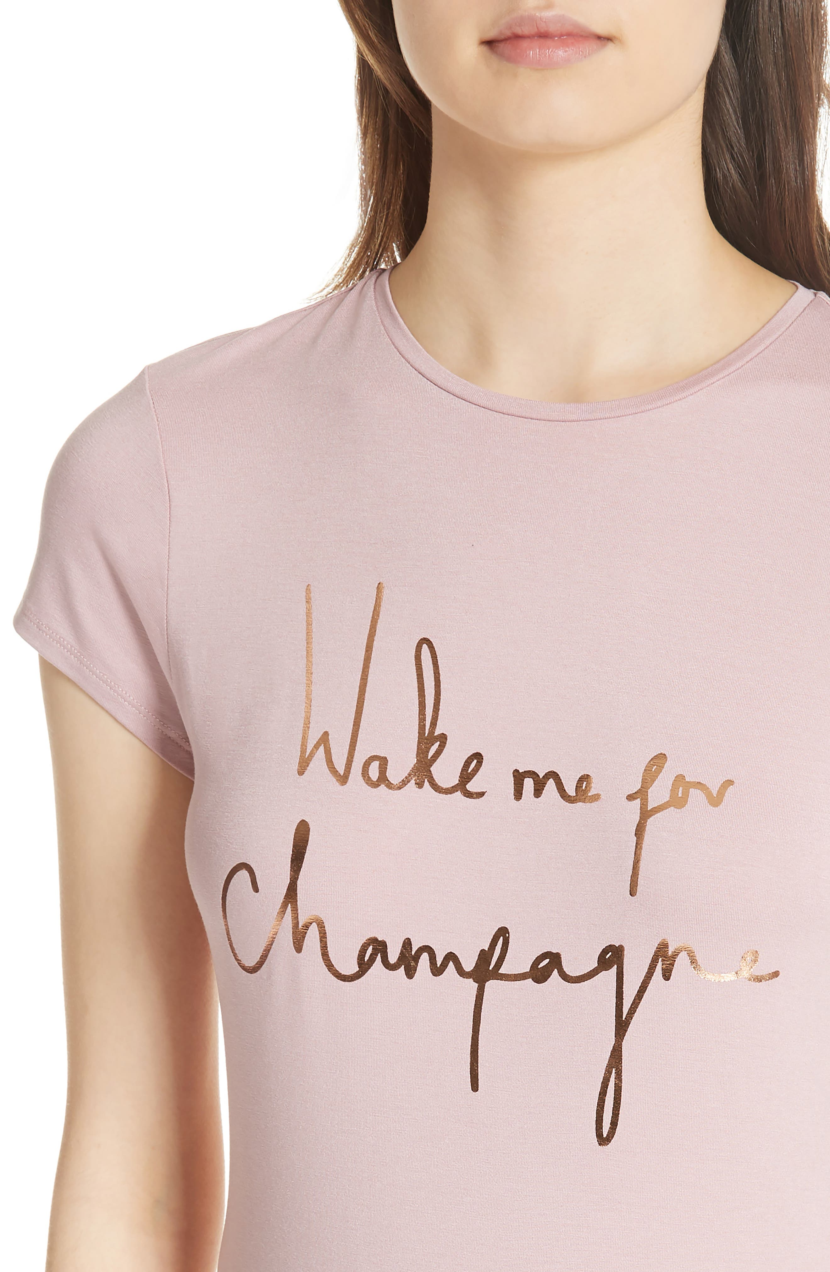 Wake Me for Champagne Tee,                             Alternate thumbnail 4, color,                             Dusky Pink