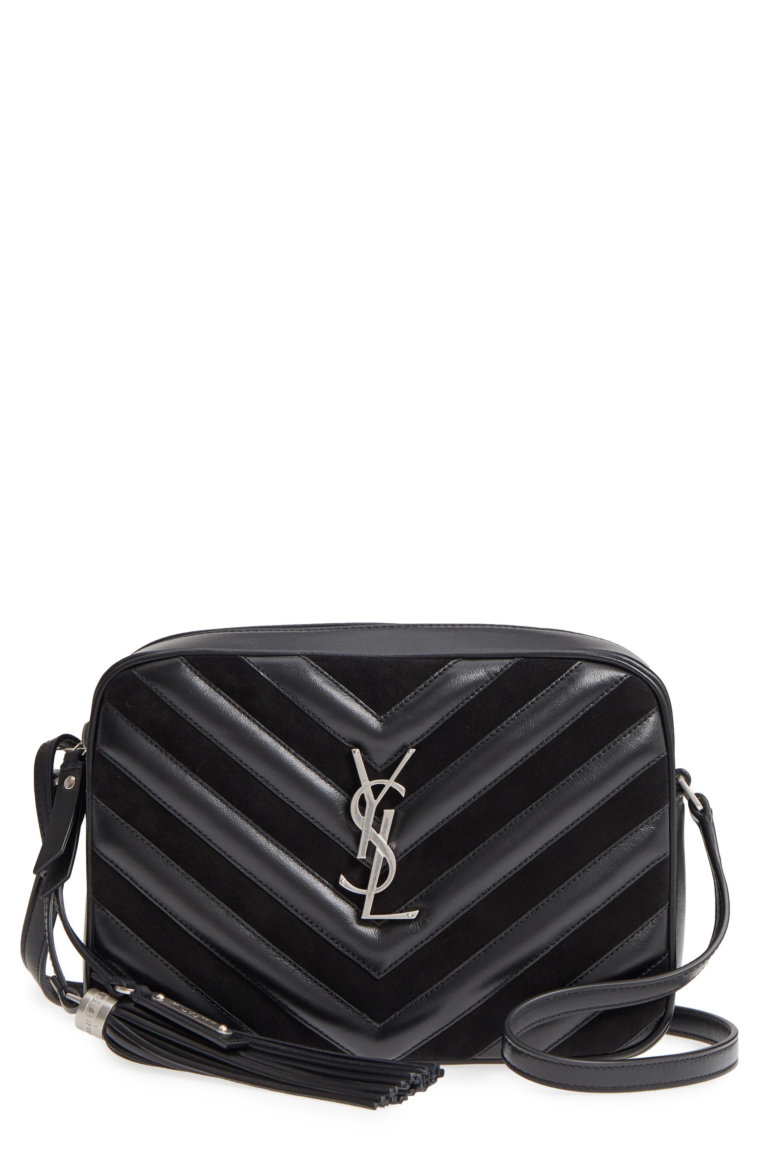 Medium Lou Leather & Suede Camera Bag,                             Main thumbnail 1, color,                             Noir