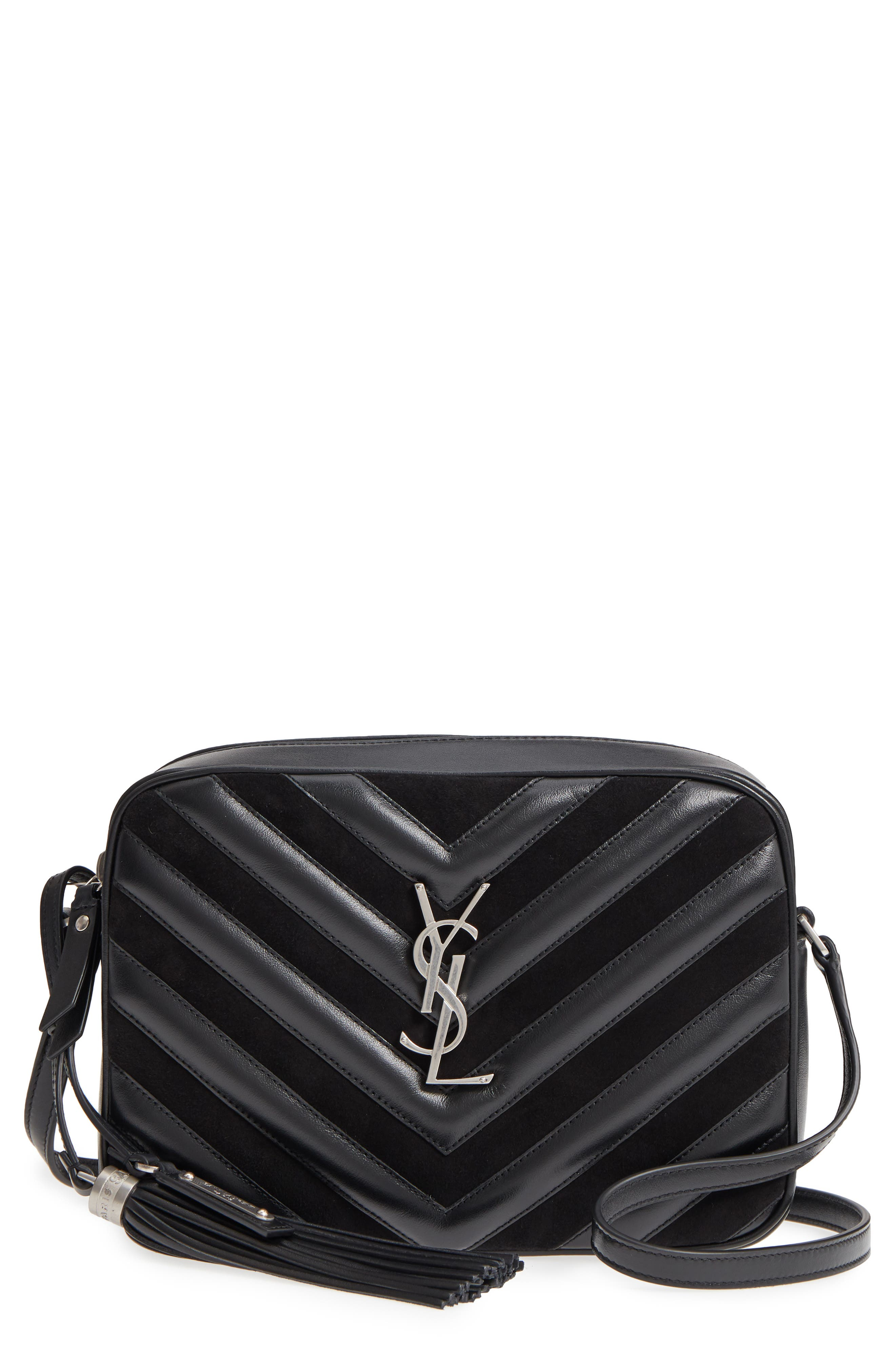 Medium Lou Leather & Suede Camera Bag,                         Main,                         color, Noir