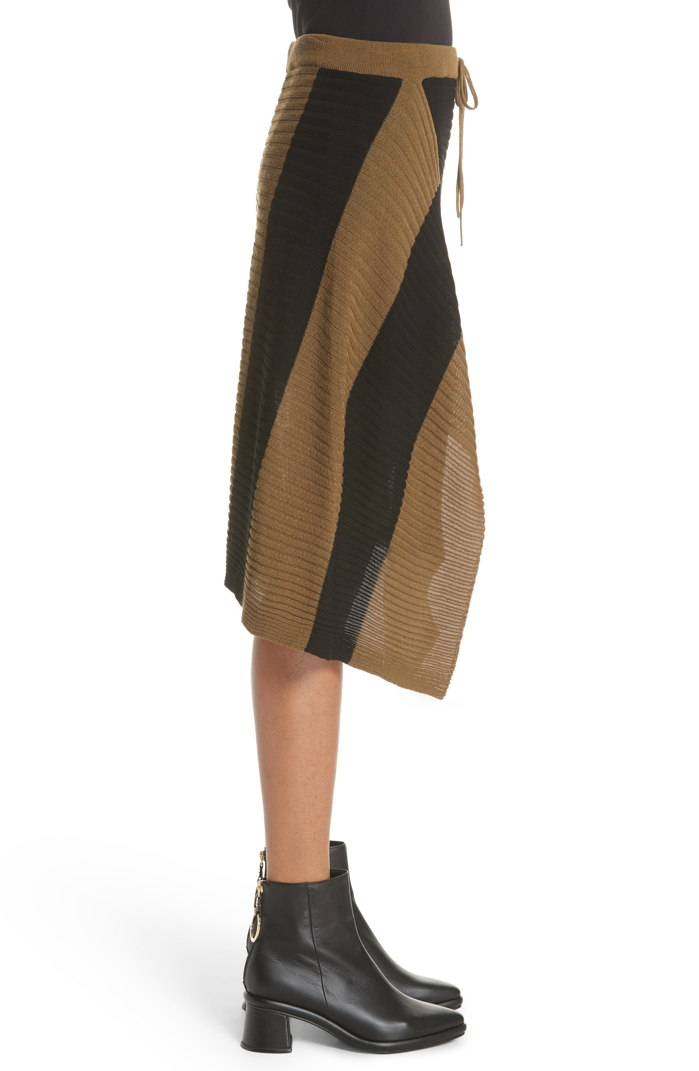 Marques'Almeida Draped Skirt,                             Alternate thumbnail 3, color,                             Khaki/ Black