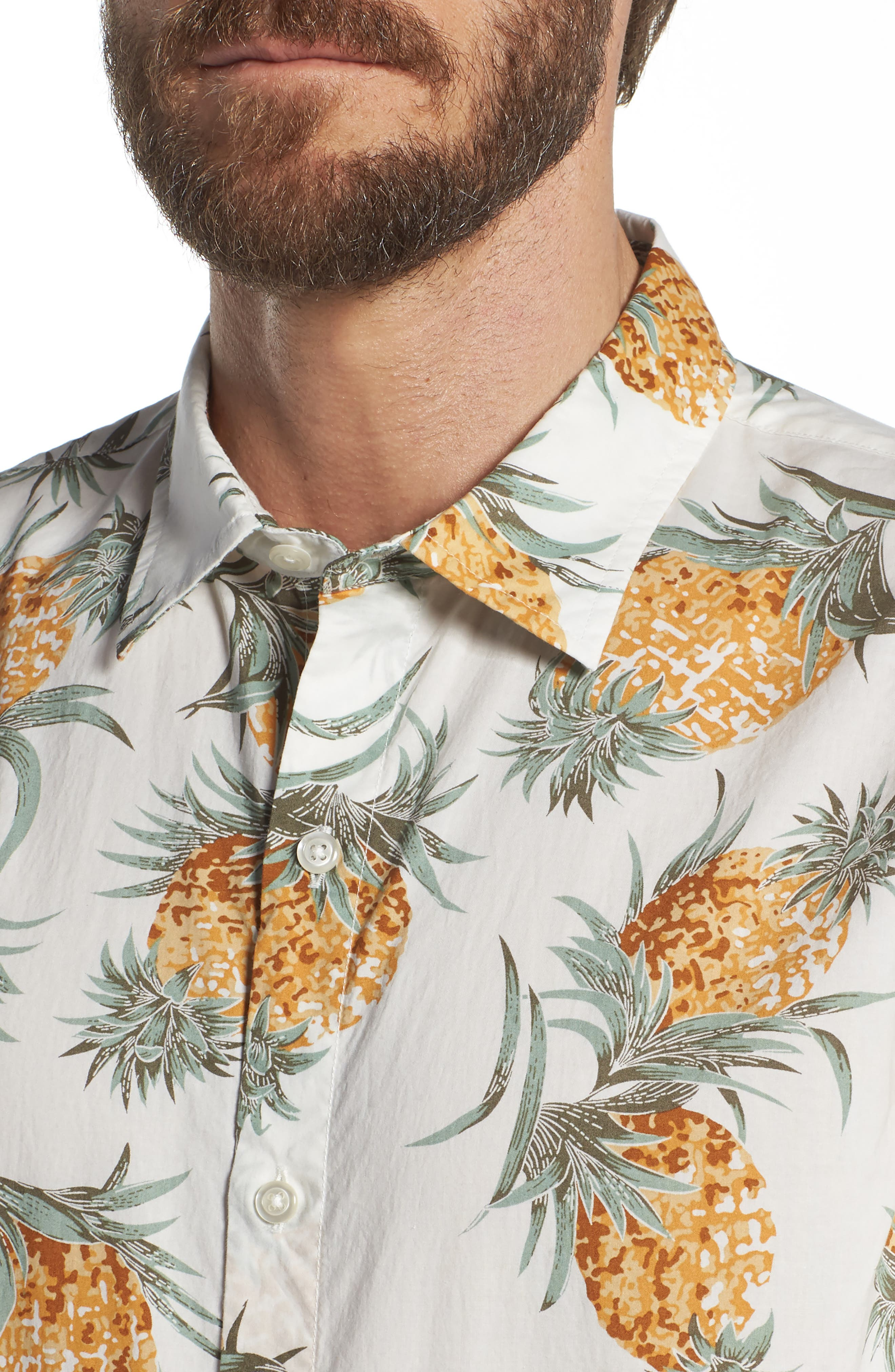 Slim Fit Print Sport Shirt,                             Alternate thumbnail 2, color,                             Pineapples - White