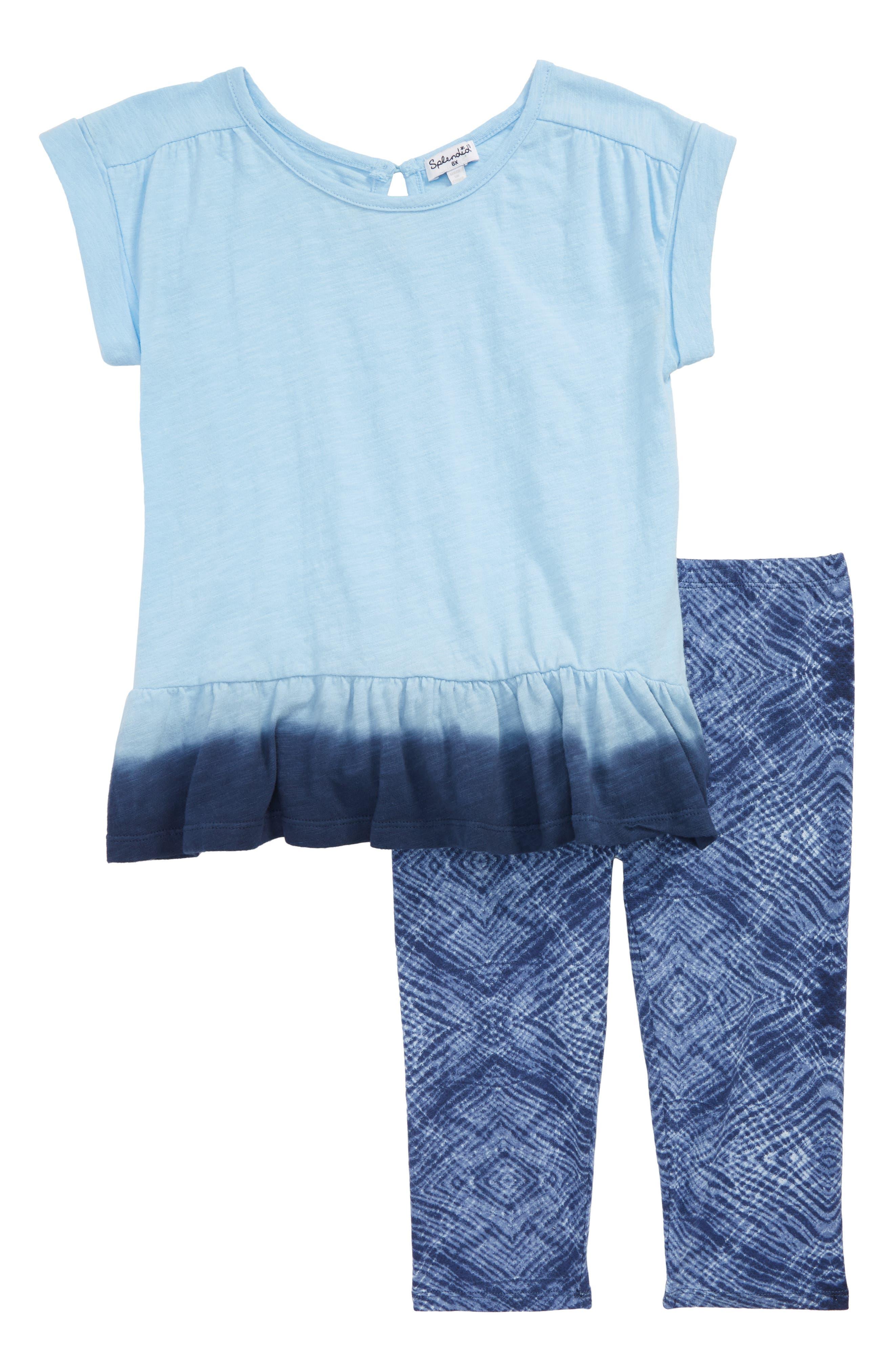 Dip Dye Top & Leggings Set,                             Main thumbnail 1, color,                             Blue Bell