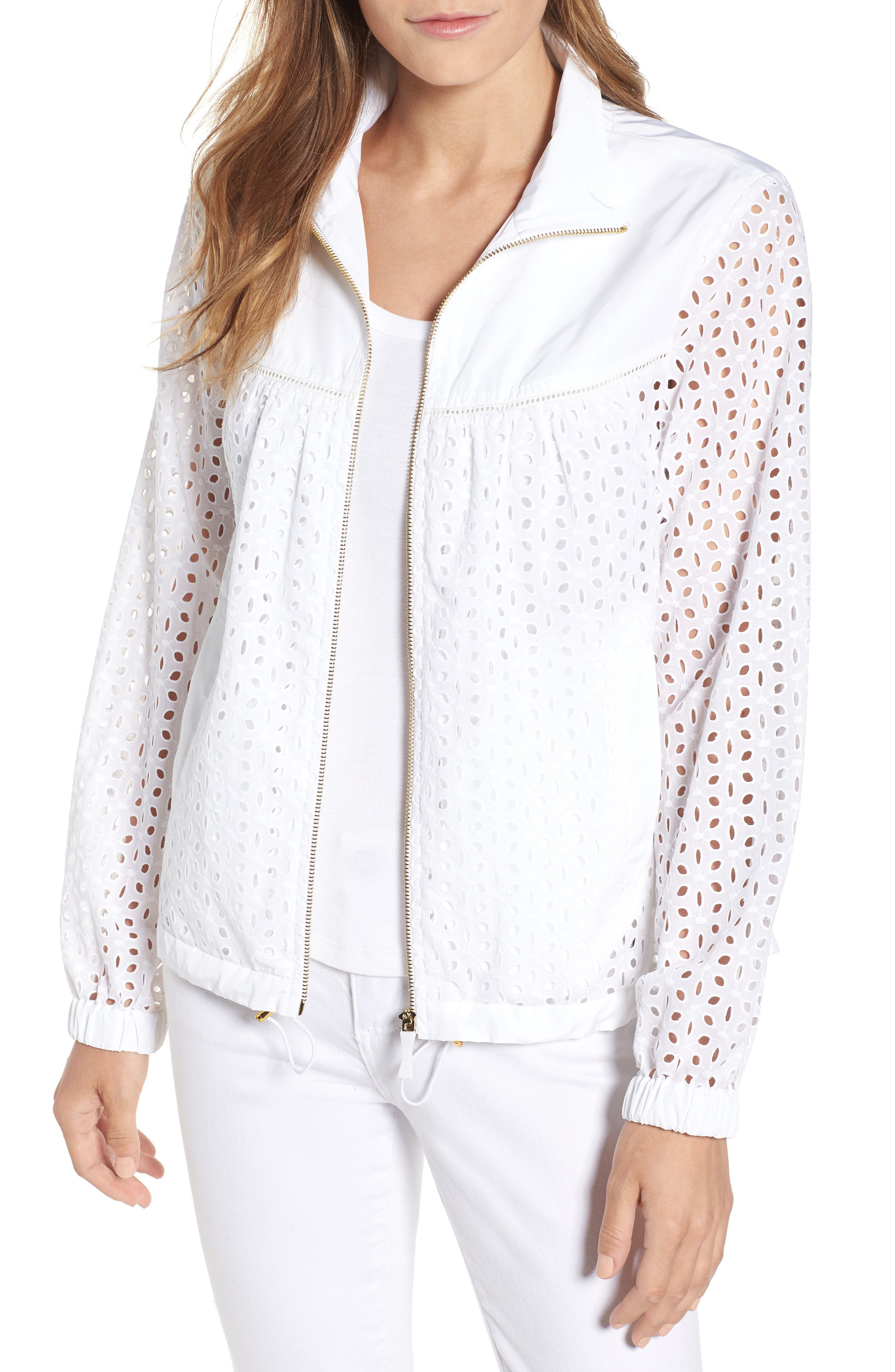 Eyelet Jacket,                             Main thumbnail 1, color,                             Fresh White