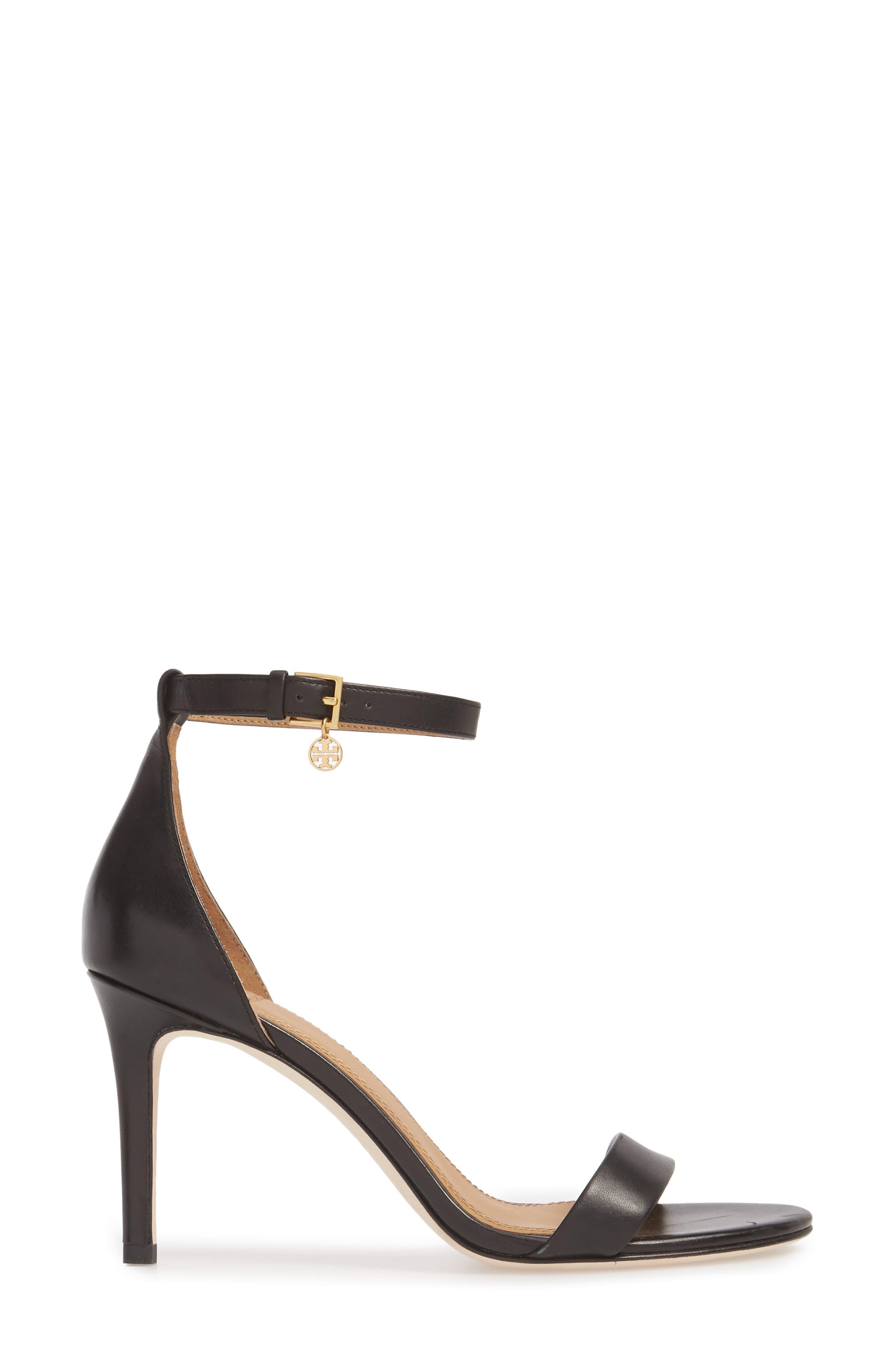 Ellie Ankle Strap Sandal,                             Alternate thumbnail 3, color,                             Black Leather