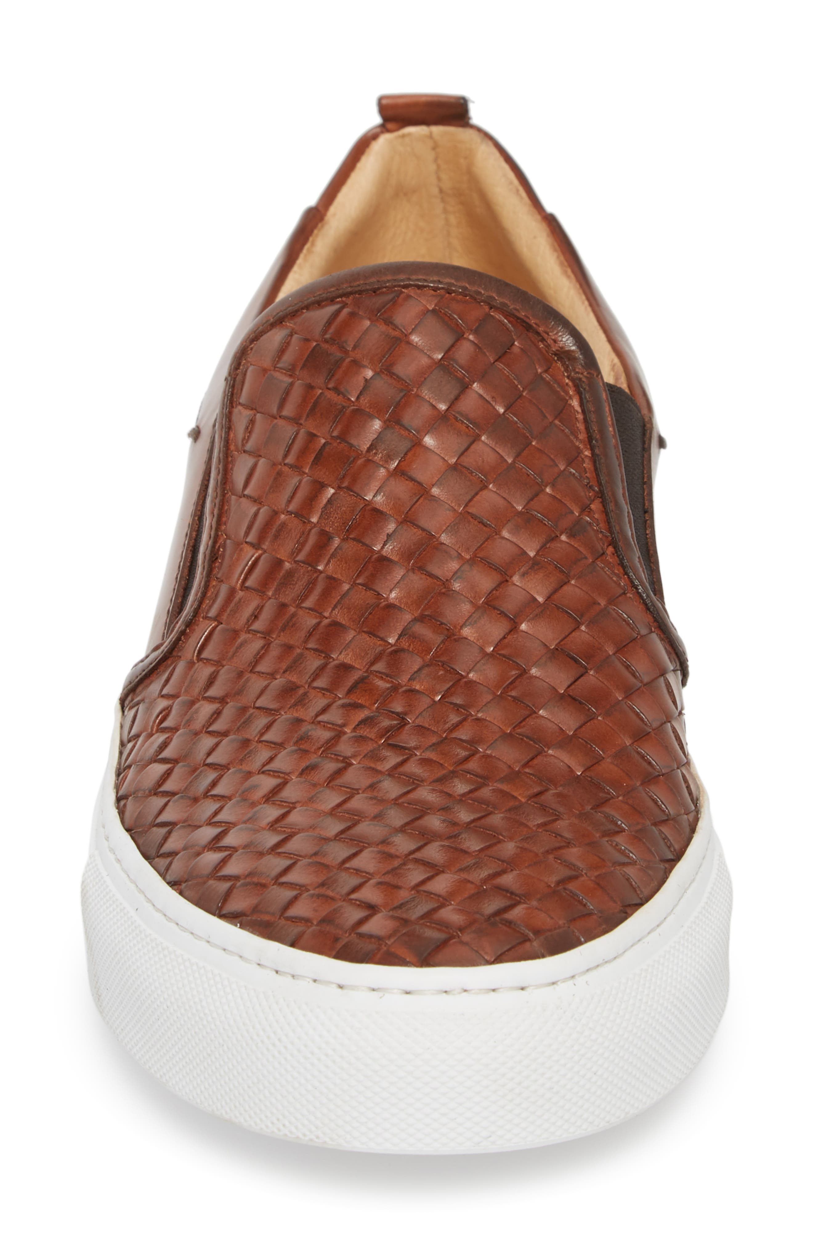 Grifyn Woven Slip-On Sneaker,                             Alternate thumbnail 4, color,                             Cognac Leather