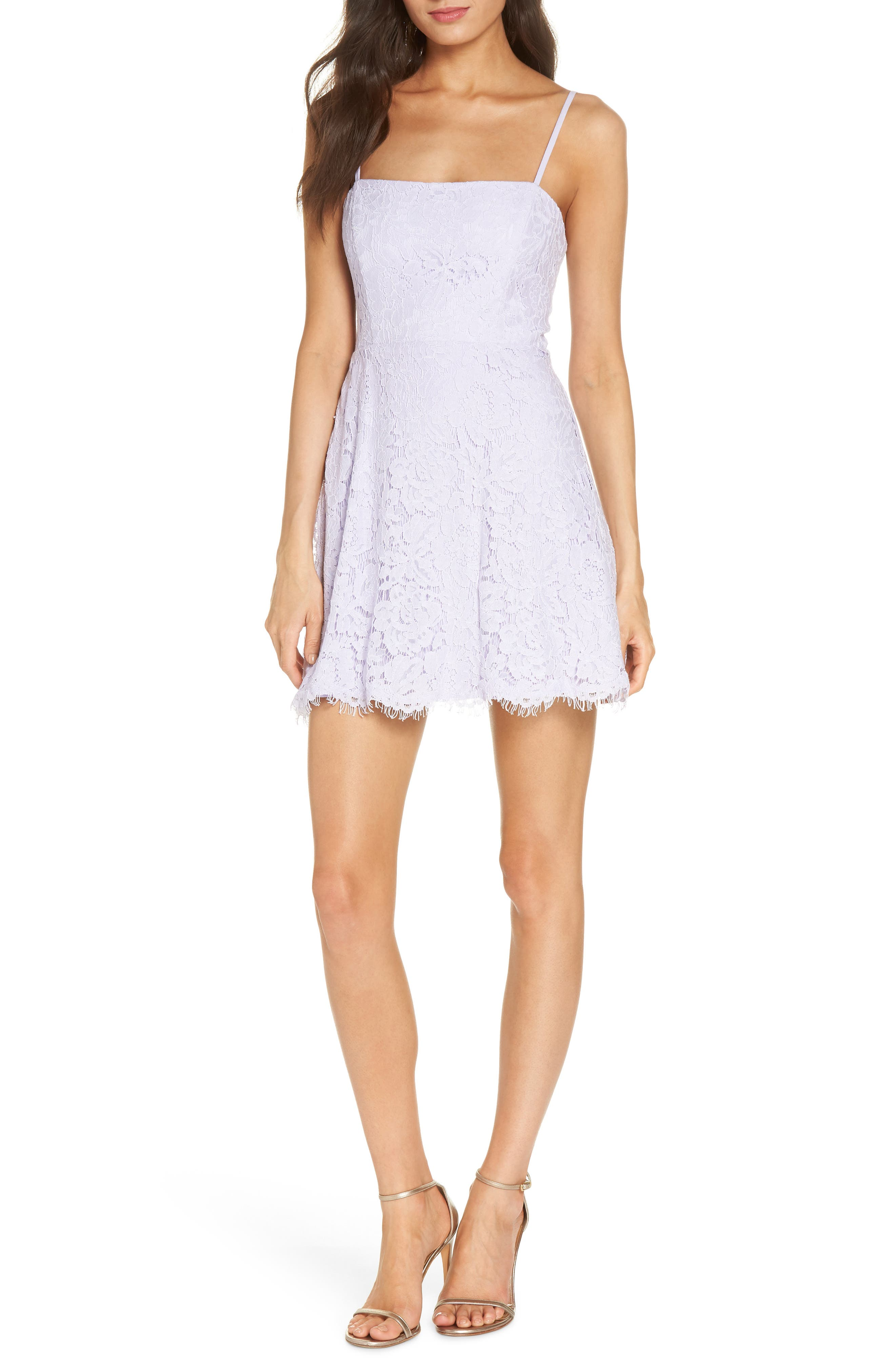 The Fiona Lace Minidress,                             Main thumbnail 1, color,                             Lilac