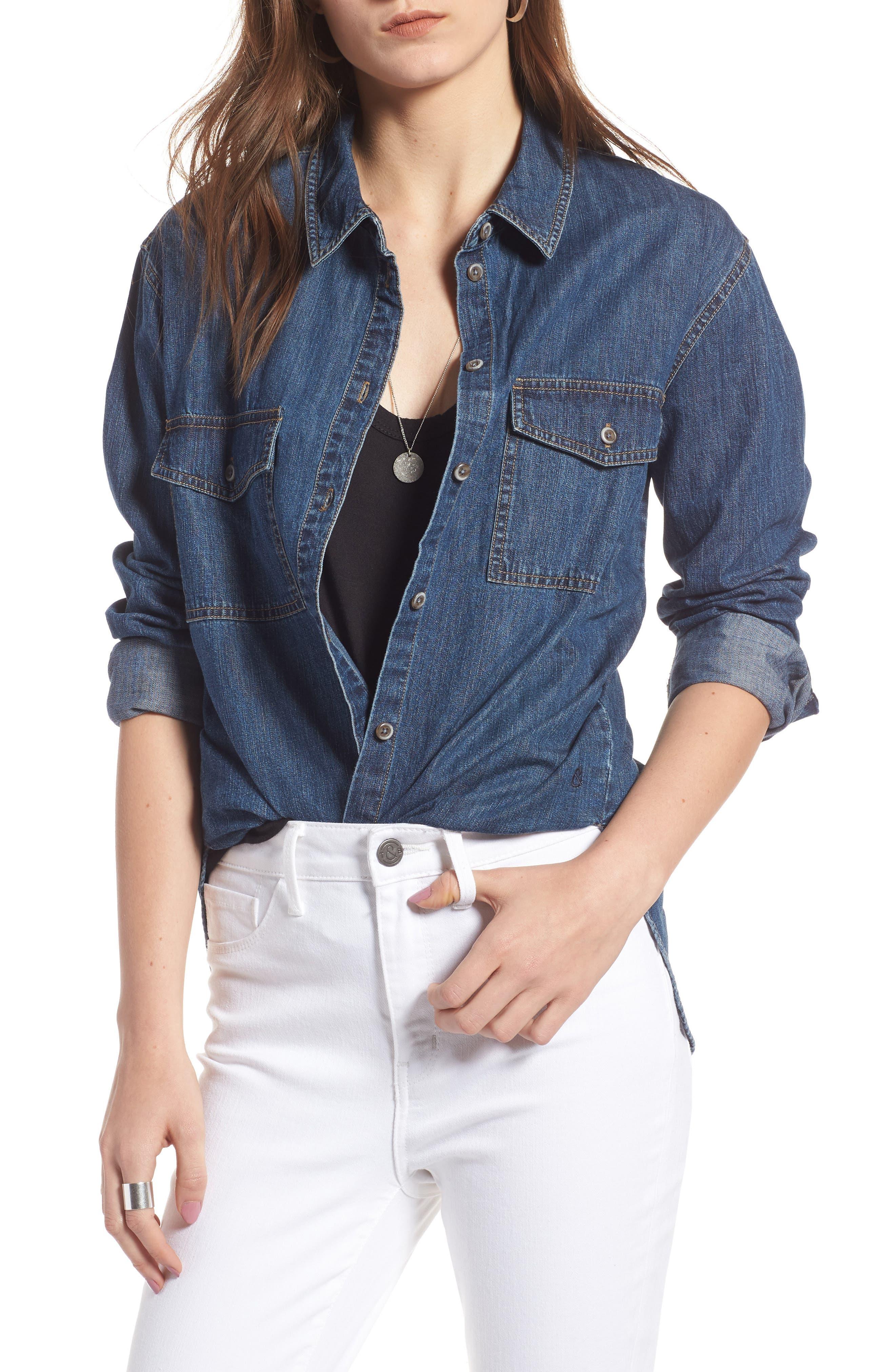 Denim Boyfriend Shirt,                         Main,                         color, Mineral Medium Clean