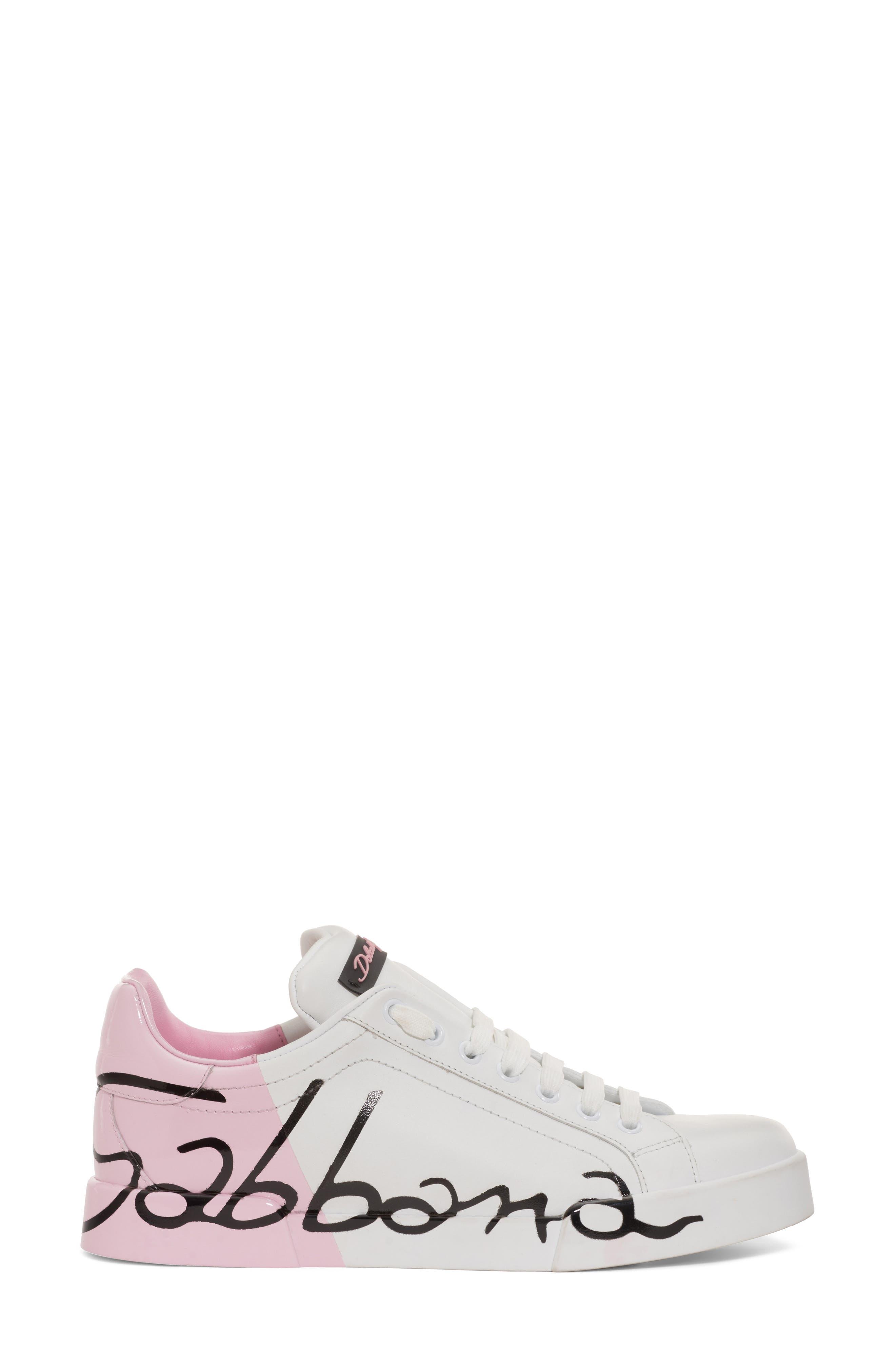 Script Logo Sneaker,                             Alternate thumbnail 3, color,                             Pink/ White