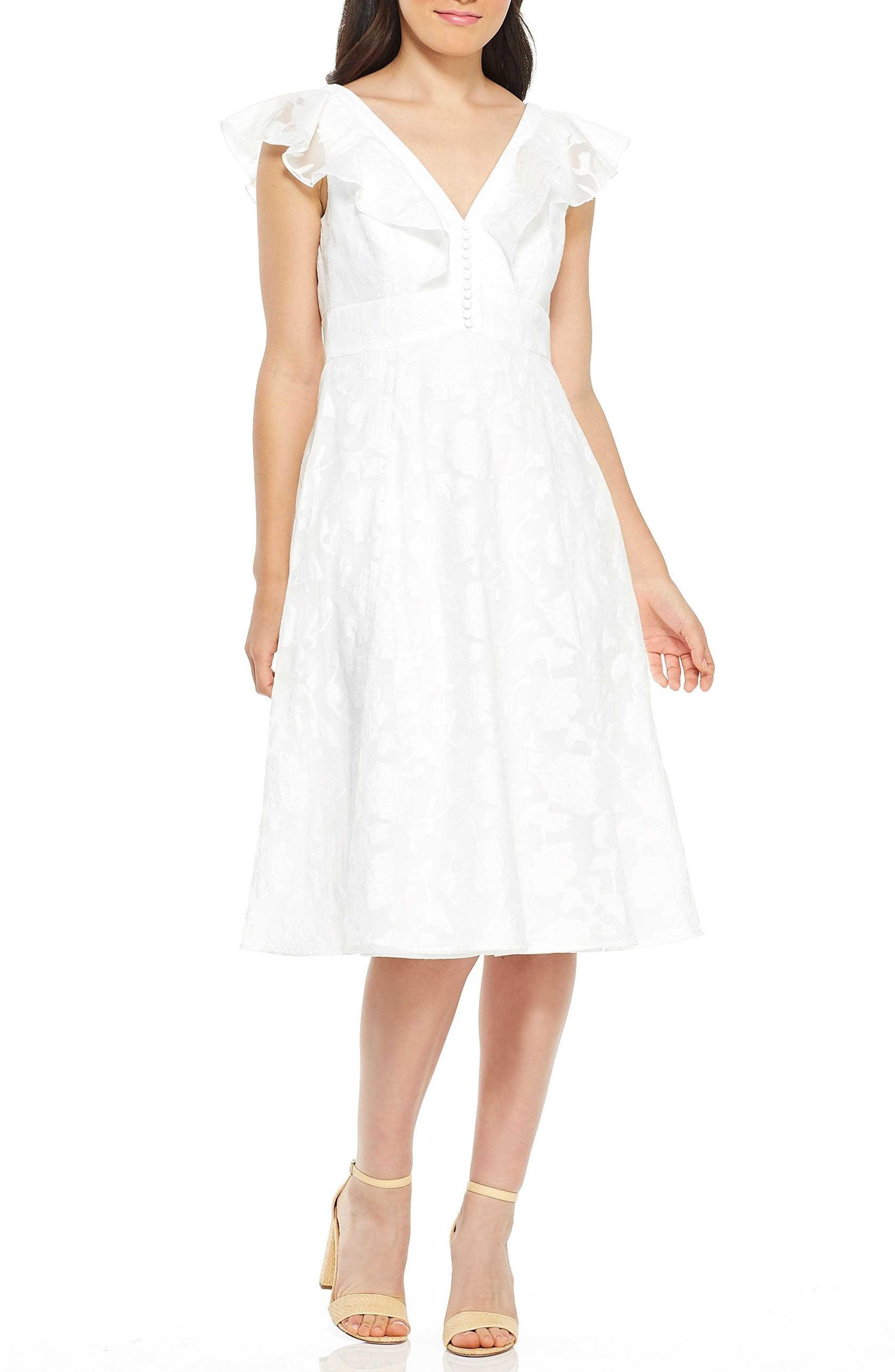 Susie Floral Organza Fit & Flare Dress,                         Main,                         color, White