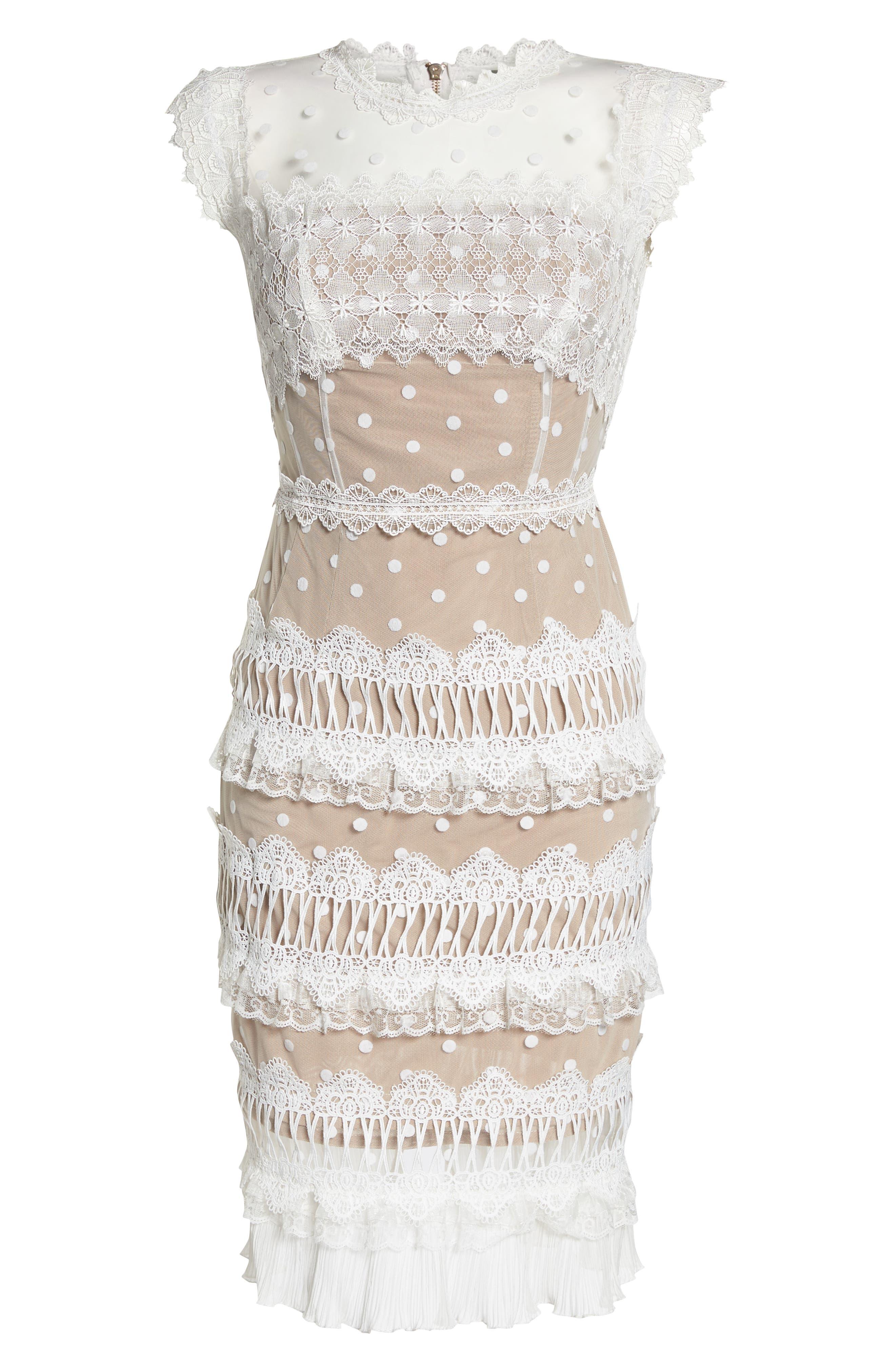 Majiorca Dot Lace Cocktail Dress,                             Alternate thumbnail 6, color,                             White