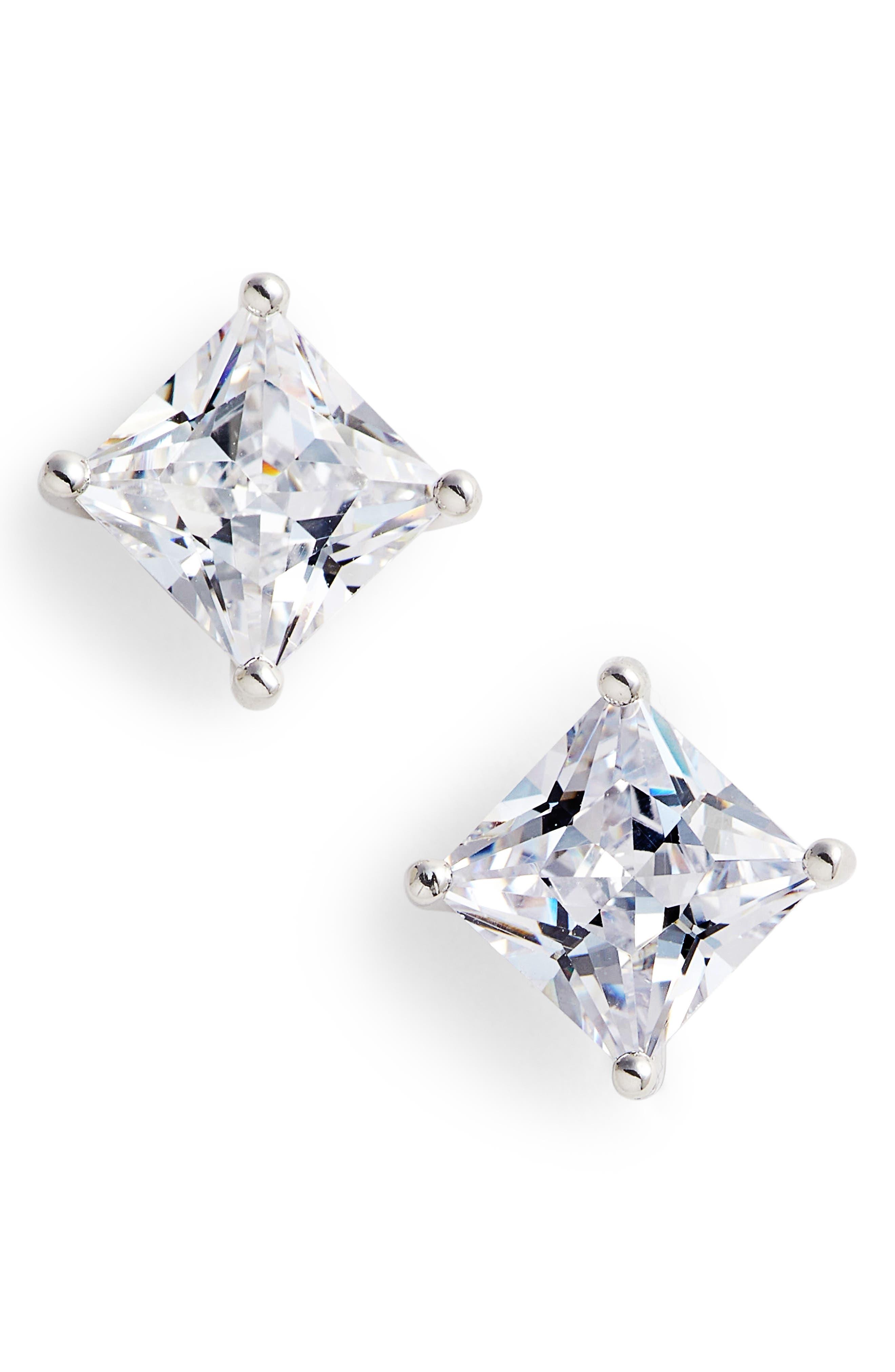 4ct tw Princess Cut Cubic Zirconia Stud Earrings,                             Main thumbnail 1, color,                             Platinum