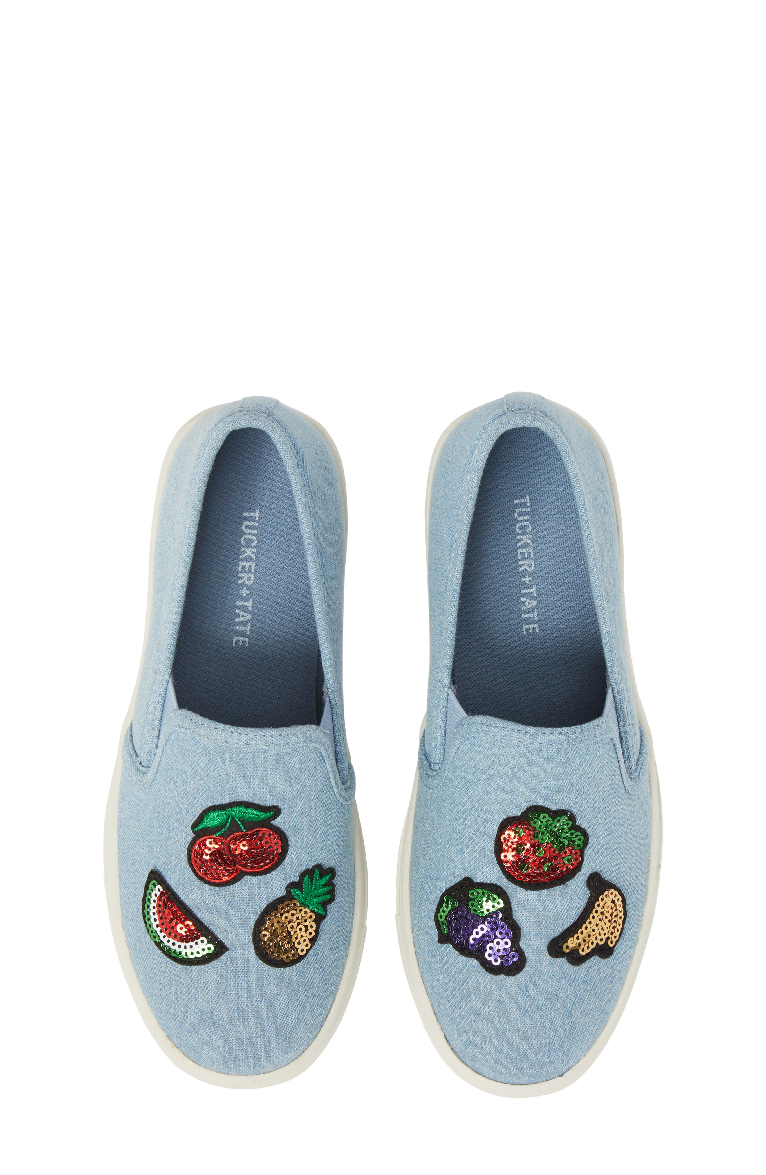 Twinny Snack Appliqué Sneaker,                             Main thumbnail 1, color,                             Chambray Fabric