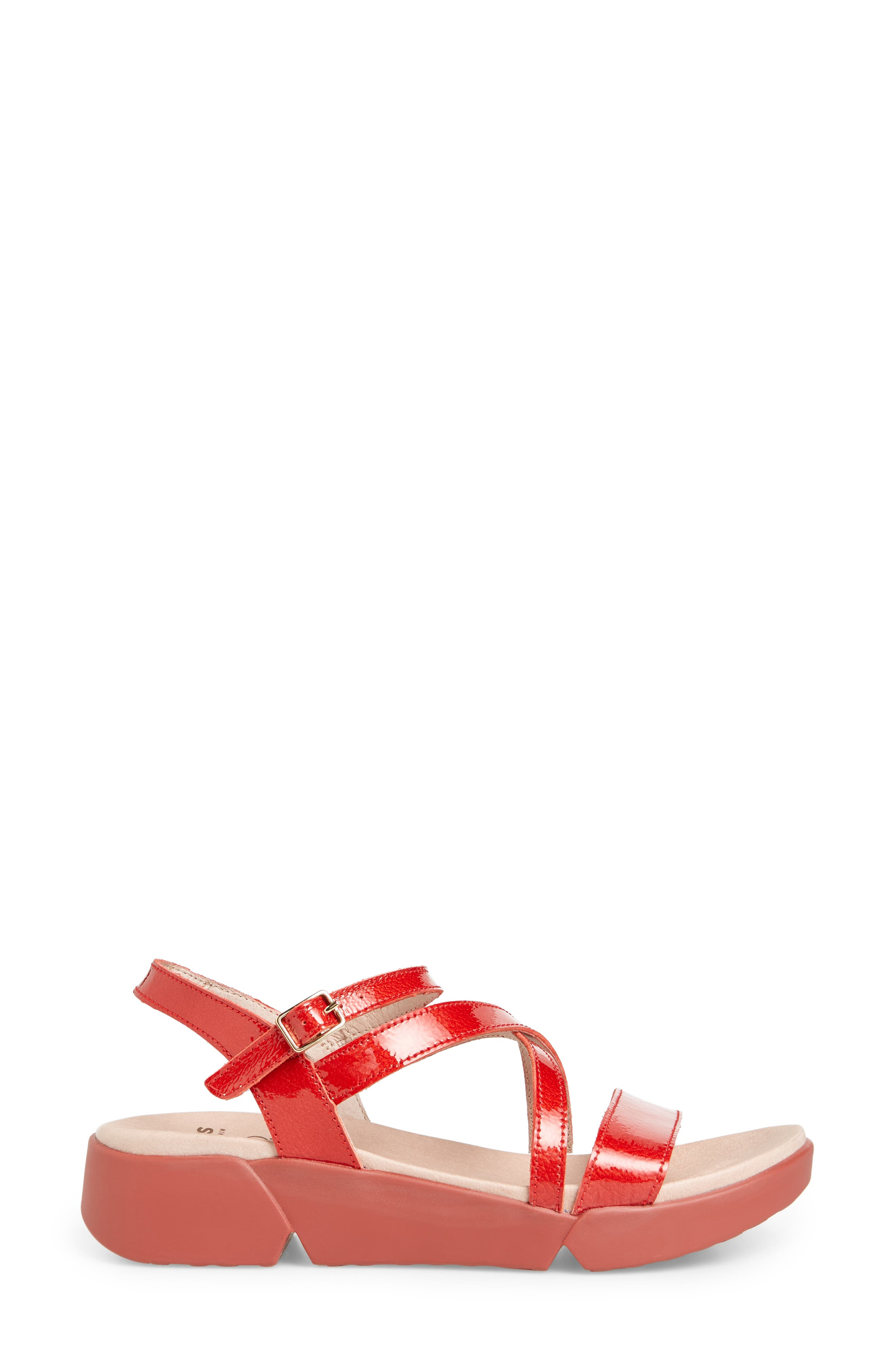Wedge Sandal,                             Alternate thumbnail 3, color,                             Red Patent Leather