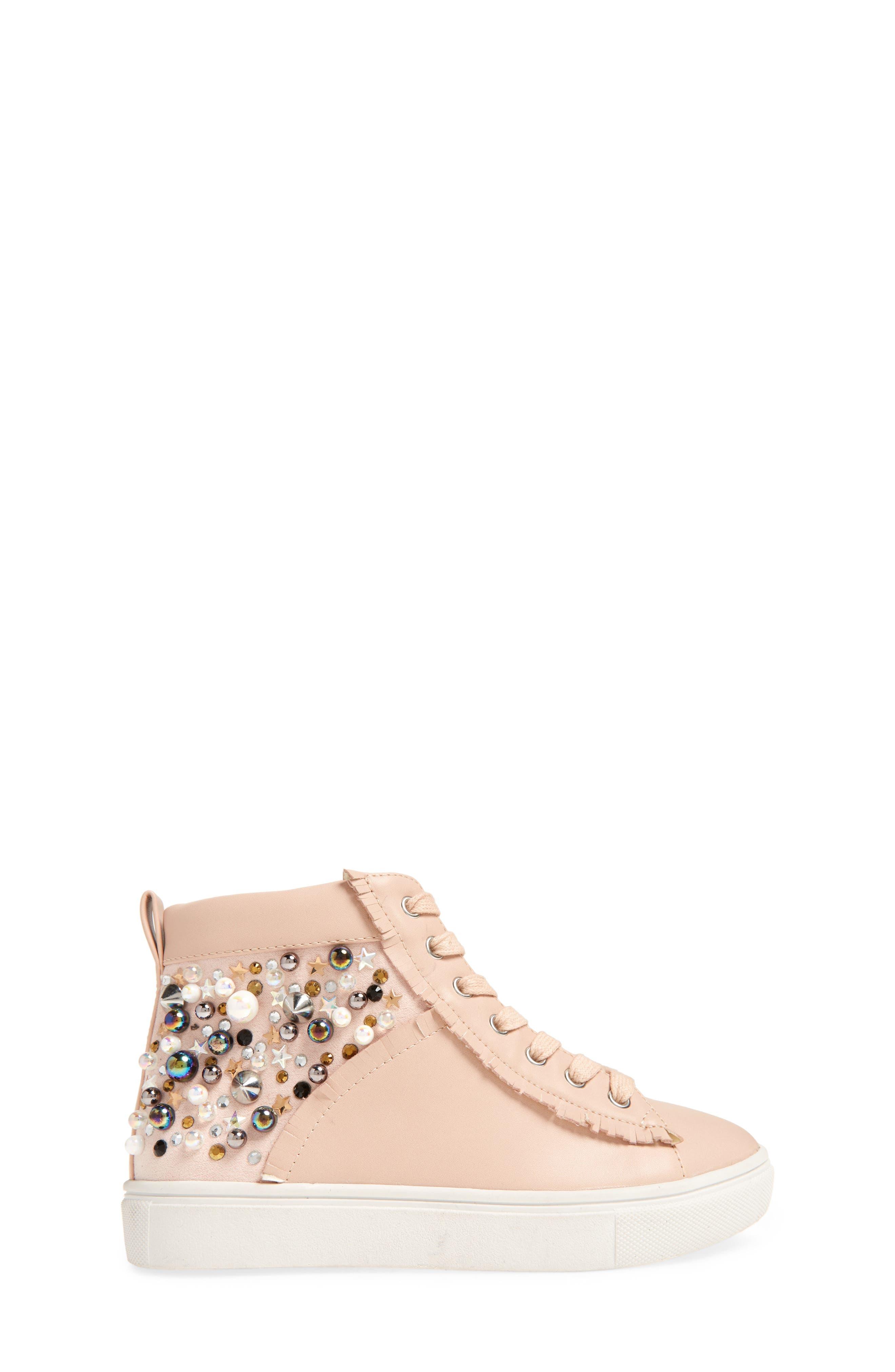 Hybrid Embellished High Top Sneaker,                             Alternate thumbnail 3, color,                             Blush