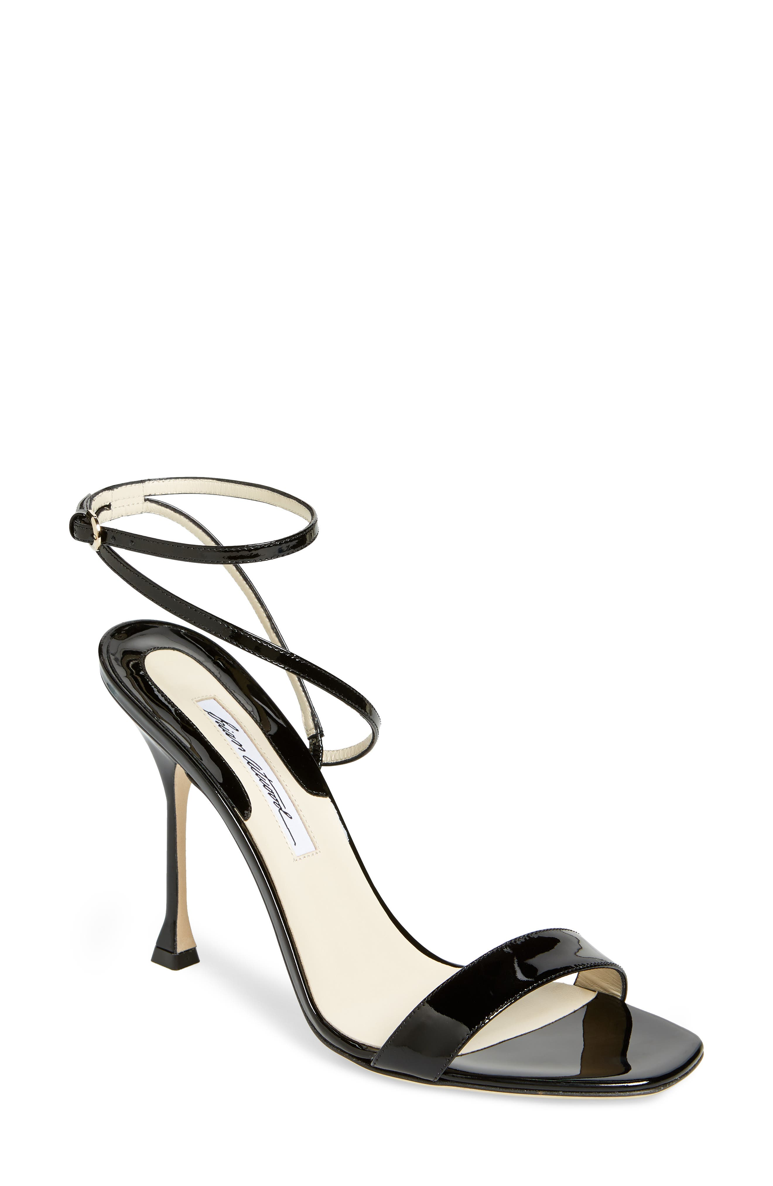 BRIAN ATWOOD Sienna Ankle Strap Sandal in Black Patent