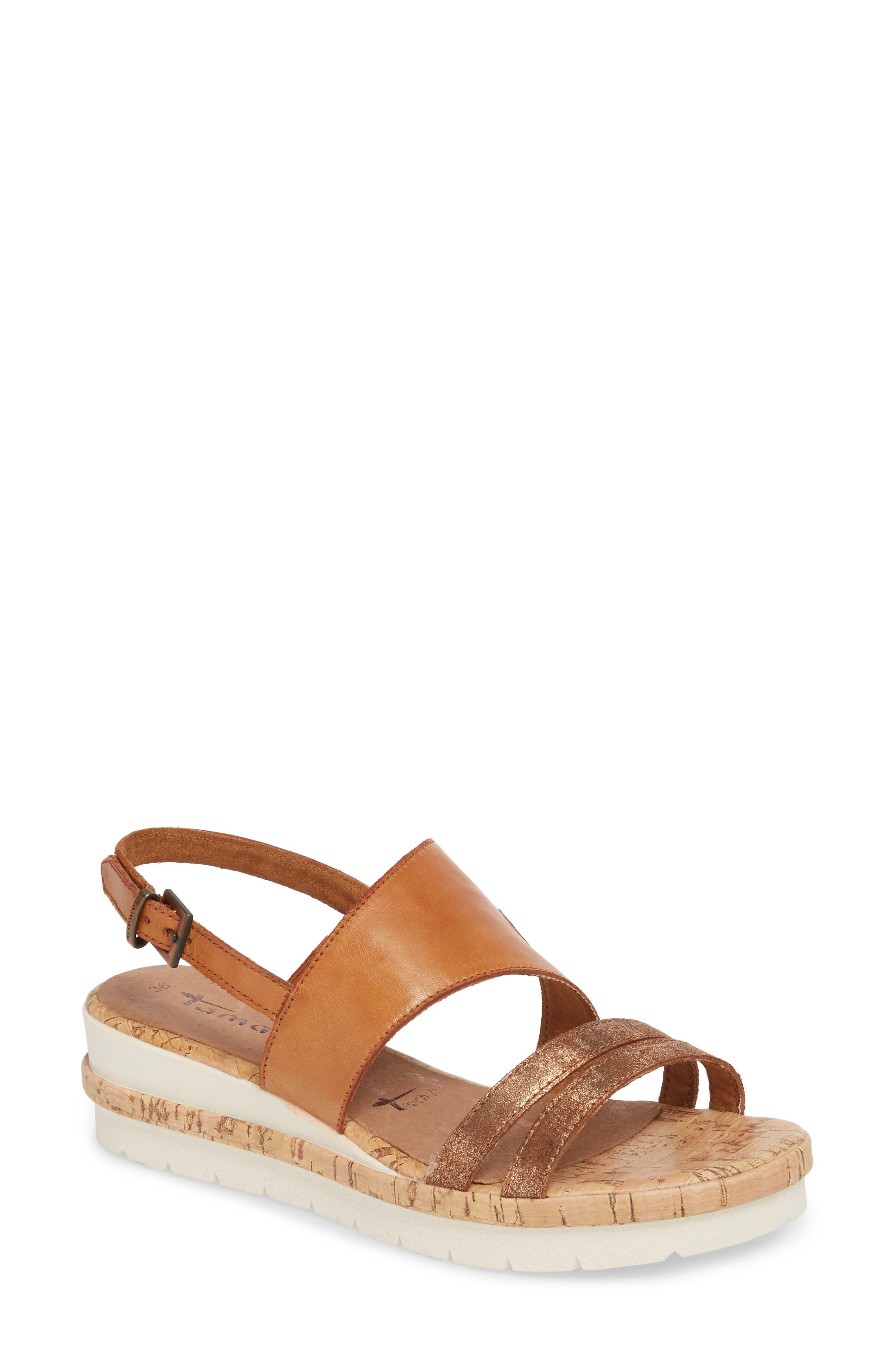Eda Wedge Sandal,                         Main,                         color, Nut Leather