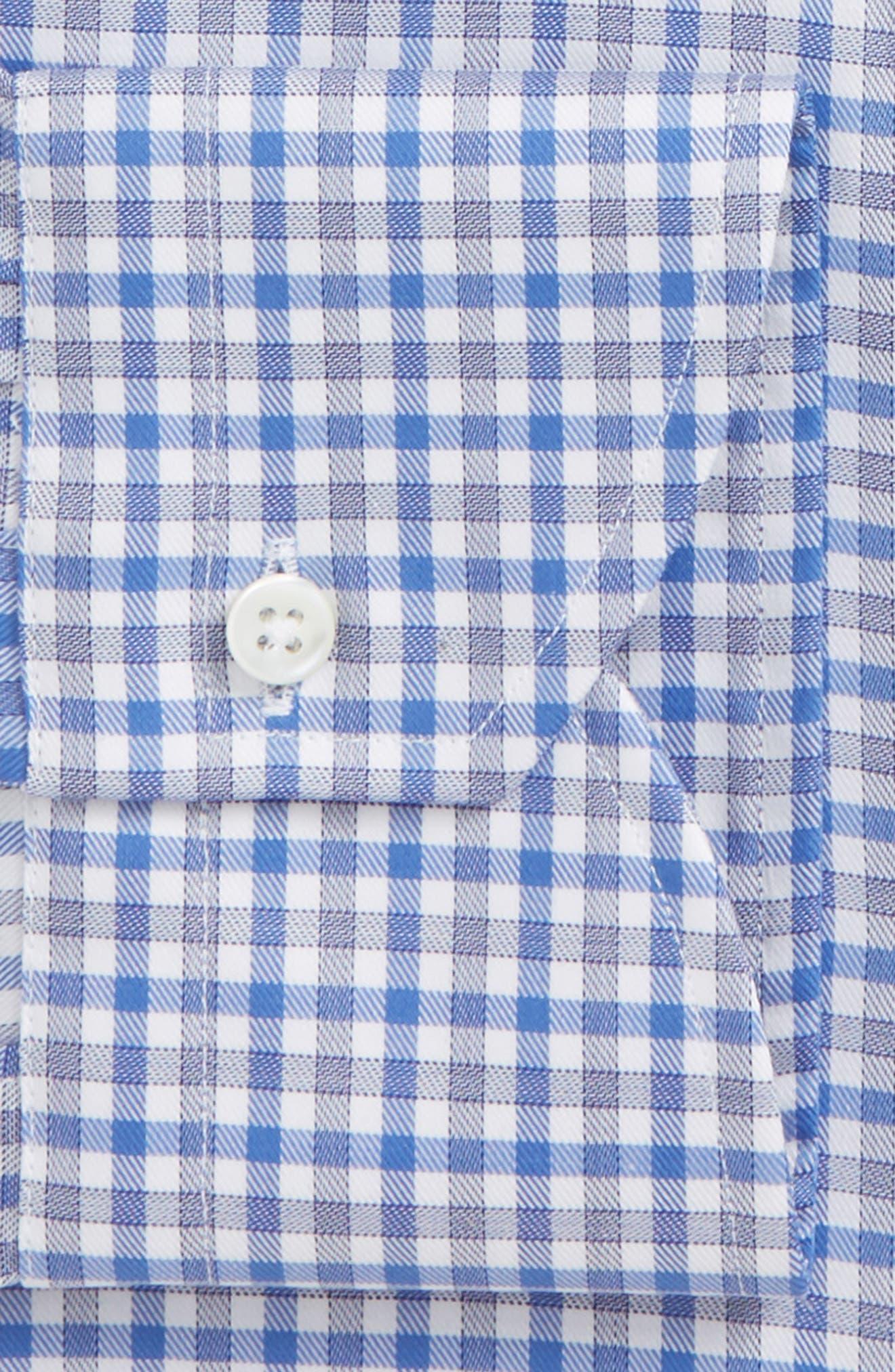 Regular Fit Non-Iron Check Dress Shirt,                             Alternate thumbnail 5, color,                             Med Blue